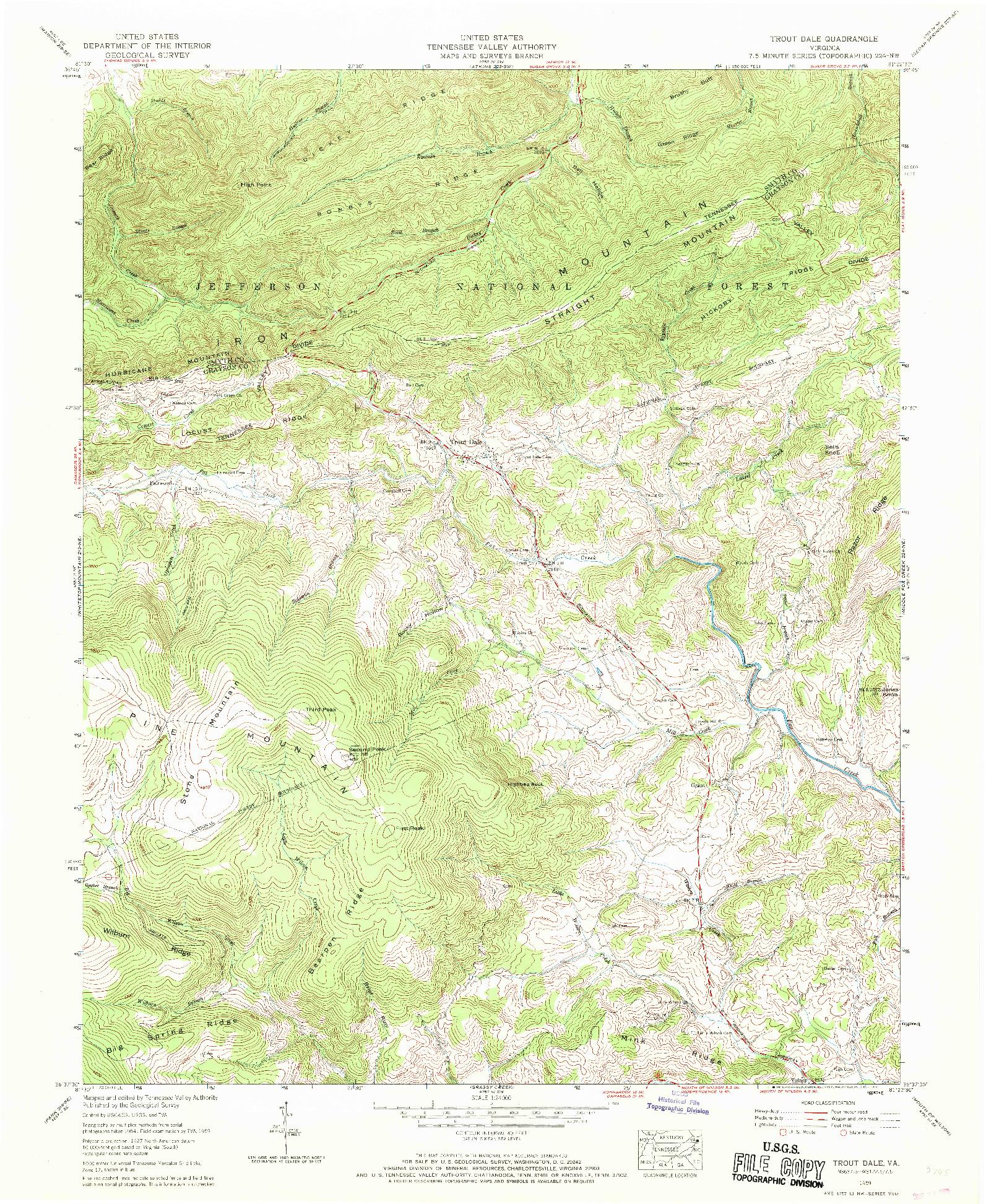 USGS 1:24000-SCALE QUADRANGLE FOR TROUT DALE, VA 1959