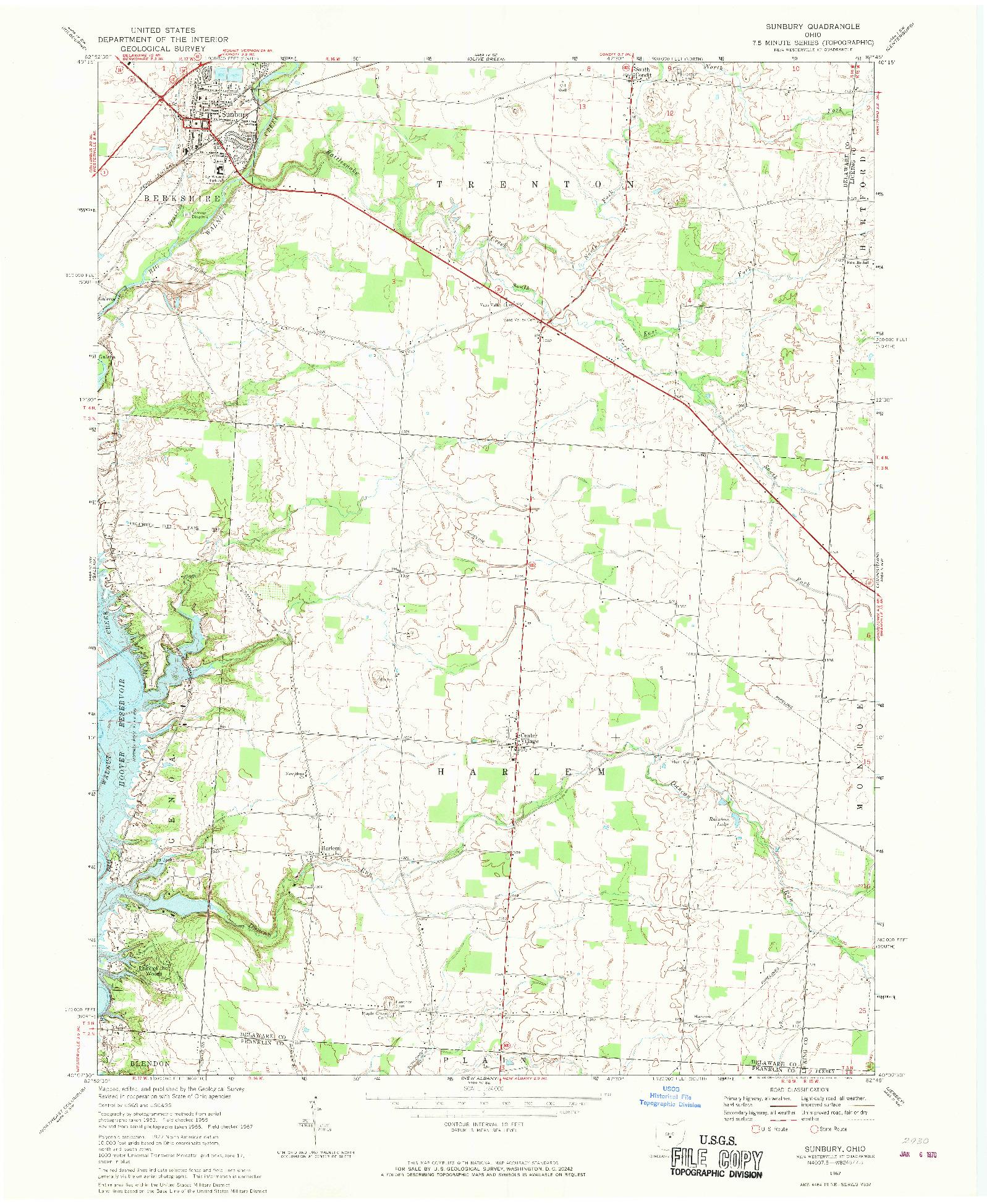 USGS 1:24000-SCALE QUADRANGLE FOR SUNBURY, OH 1967