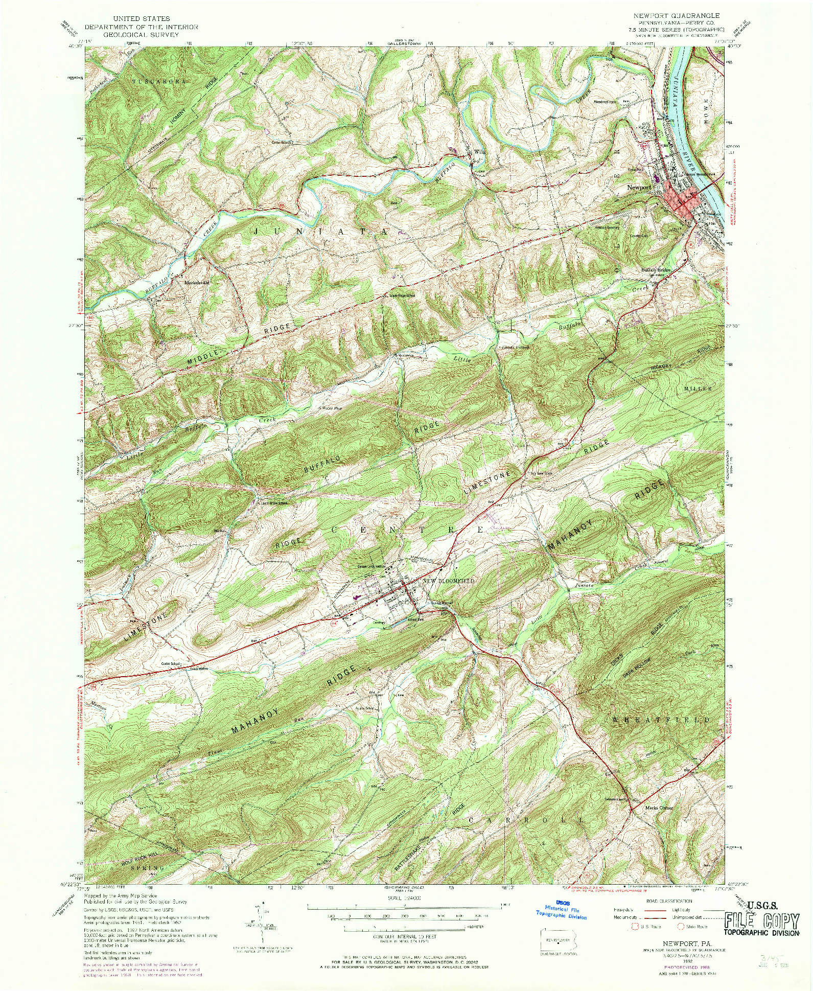 USGS 1:24000-SCALE QUADRANGLE FOR NEWPORT, PA 1952
