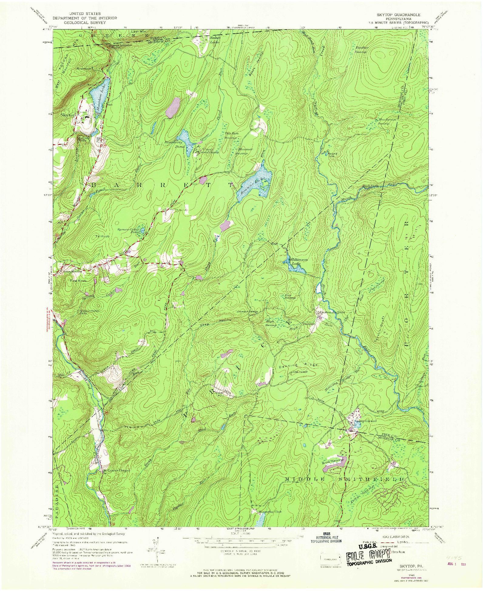 USGS 1:24000-SCALE QUADRANGLE FOR SKYTOP, PA 1943