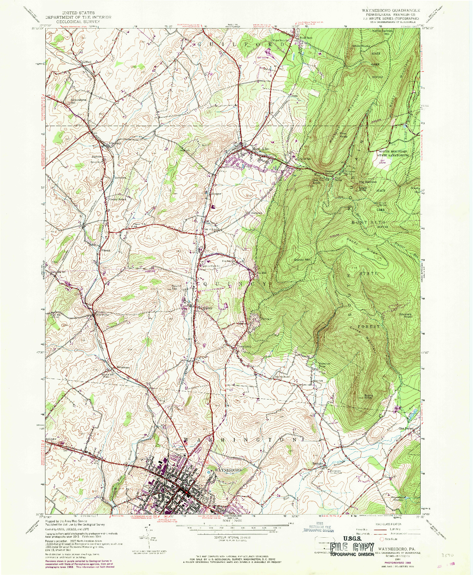 USGS 1:24000-SCALE QUADRANGLE FOR WAYNESBORO, PA 1944