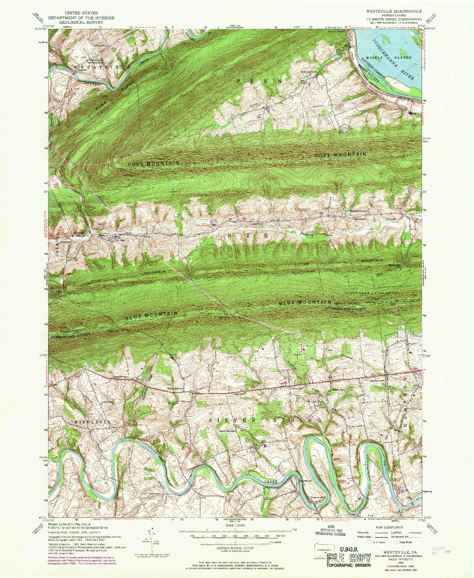 USGS 1:24000-SCALE QUADRANGLE FOR WERTZVILLE, PA 1952