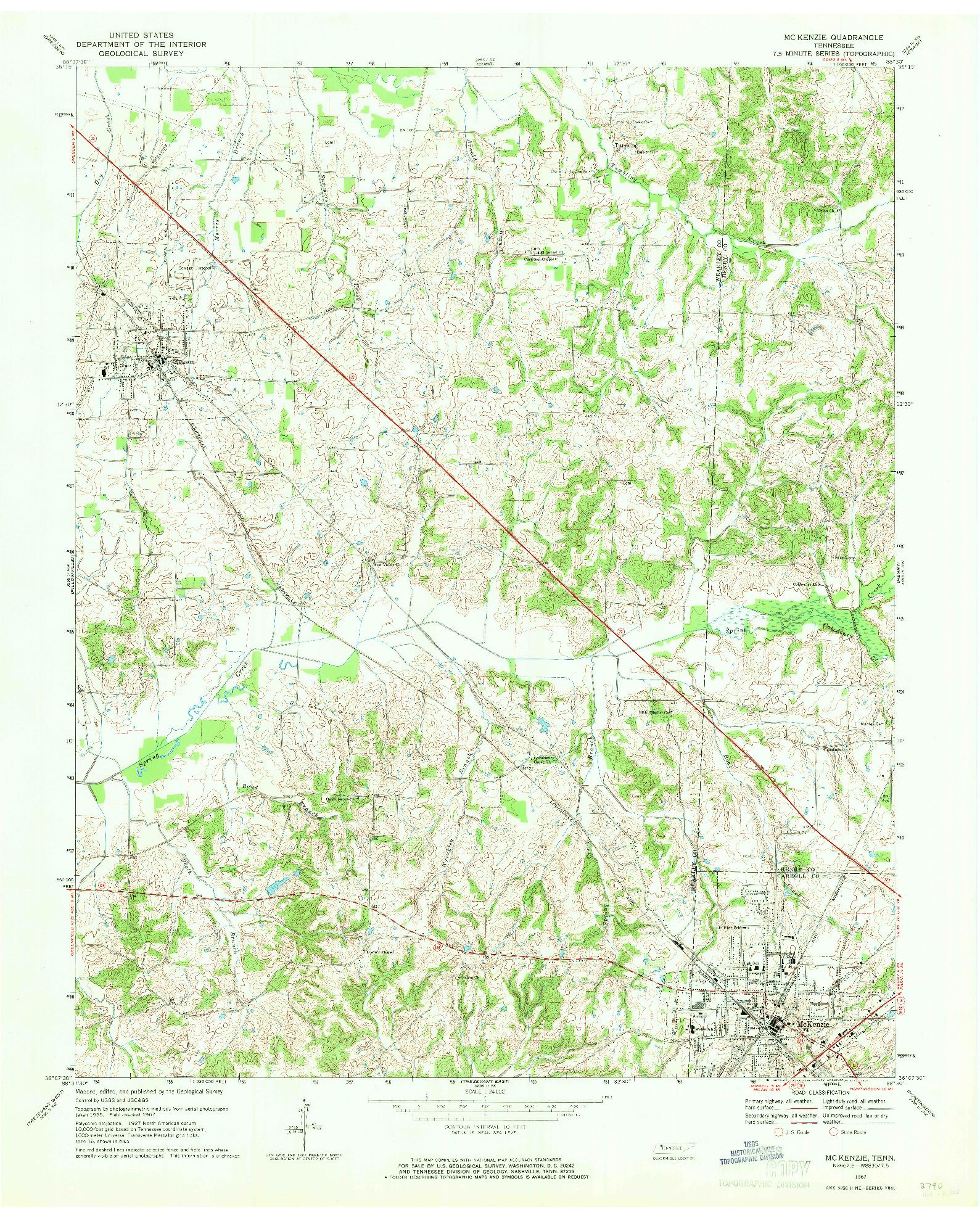 USGS 1:24000-SCALE QUADRANGLE FOR MC KENZIE, TN 1967