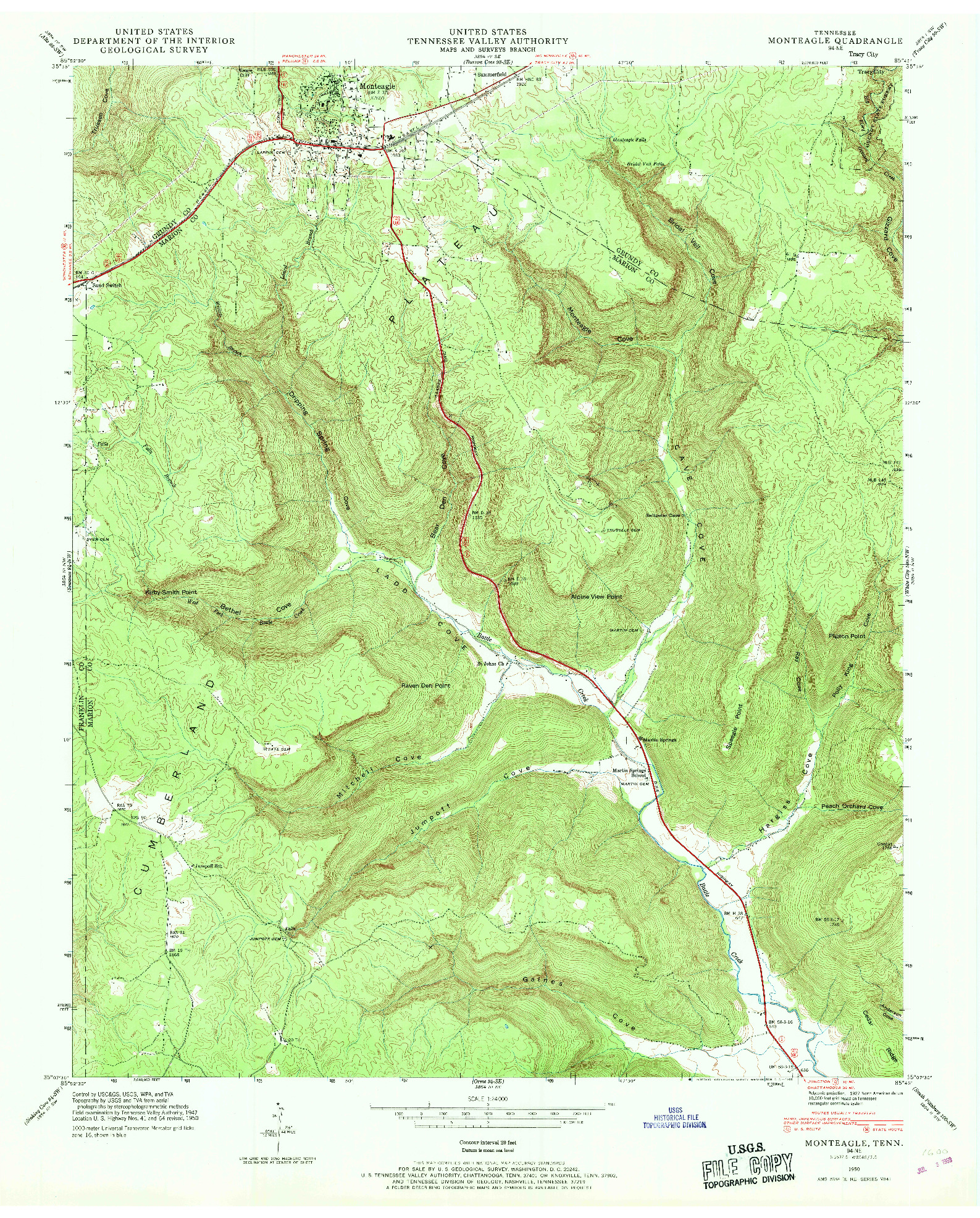 USGS 1:24000-SCALE QUADRANGLE FOR MONTEAGLE, TN 1950