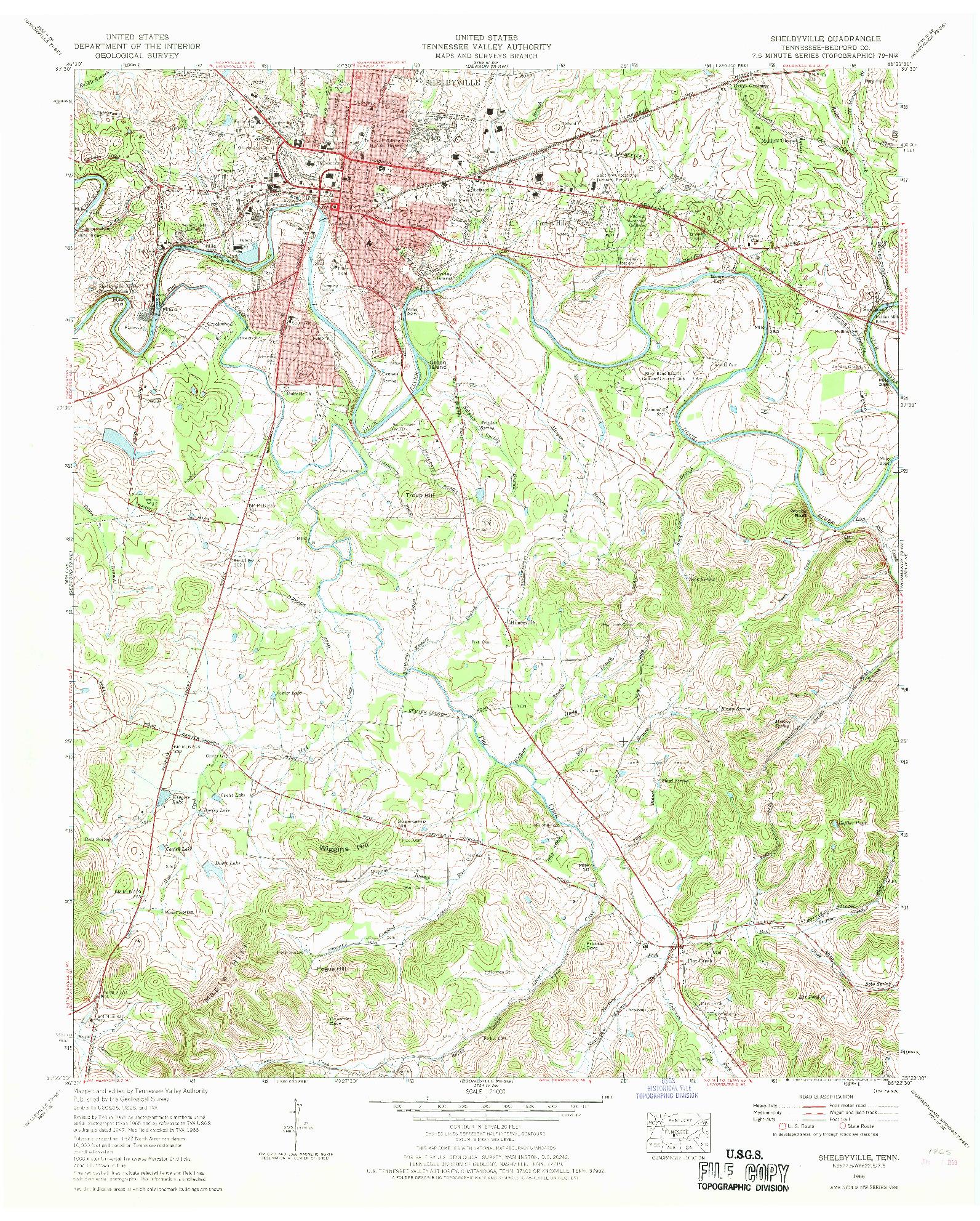 USGS 1:24000-SCALE QUADRANGLE FOR SHELBYVILLE, TN 1966