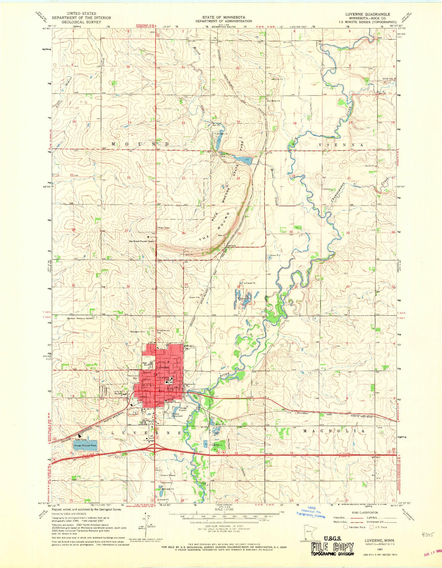 USGS 1:24000-SCALE QUADRANGLE FOR LUVERNE, MN 1967