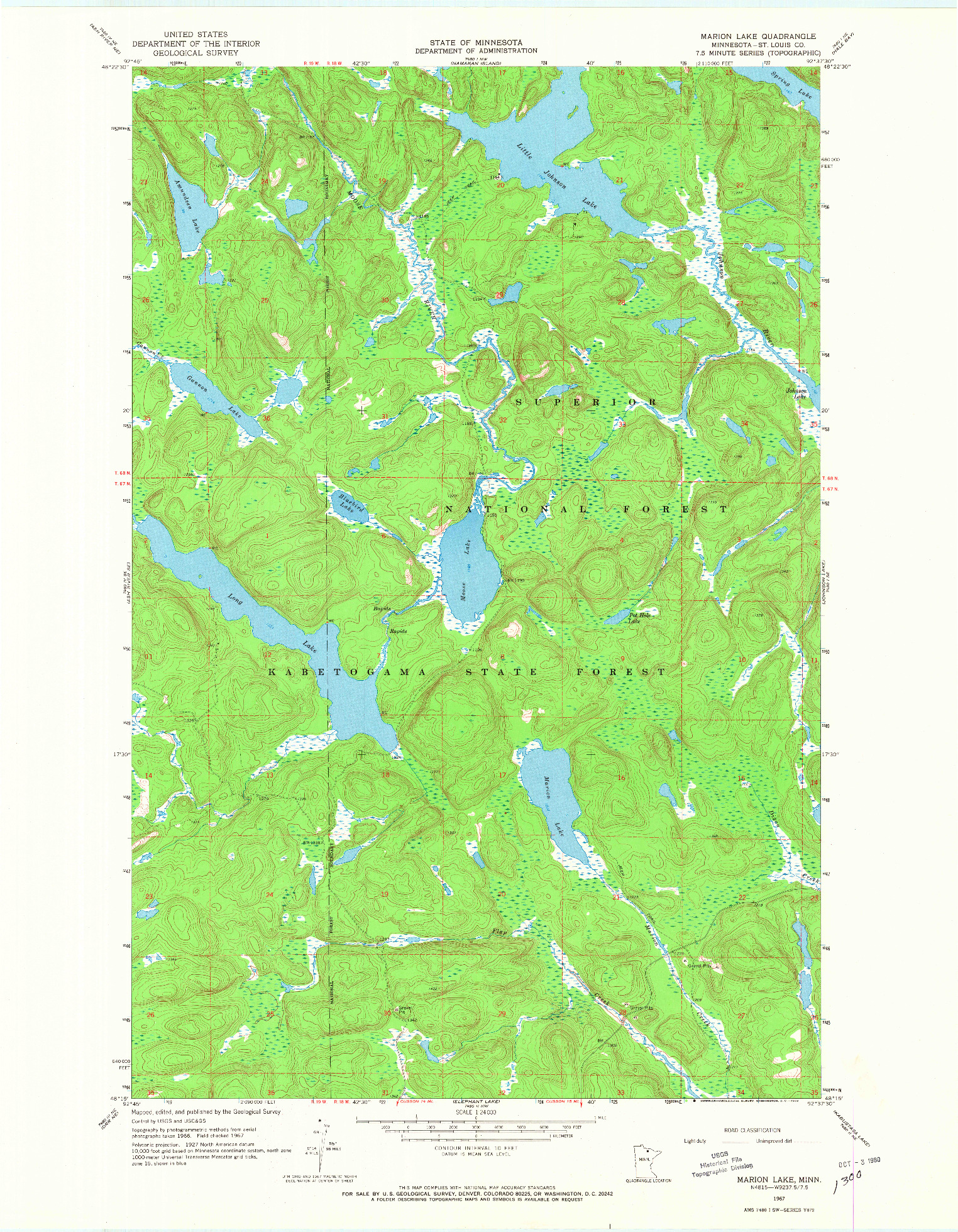 USGS 1:24000-SCALE QUADRANGLE FOR MARION LAKE, MN 1967