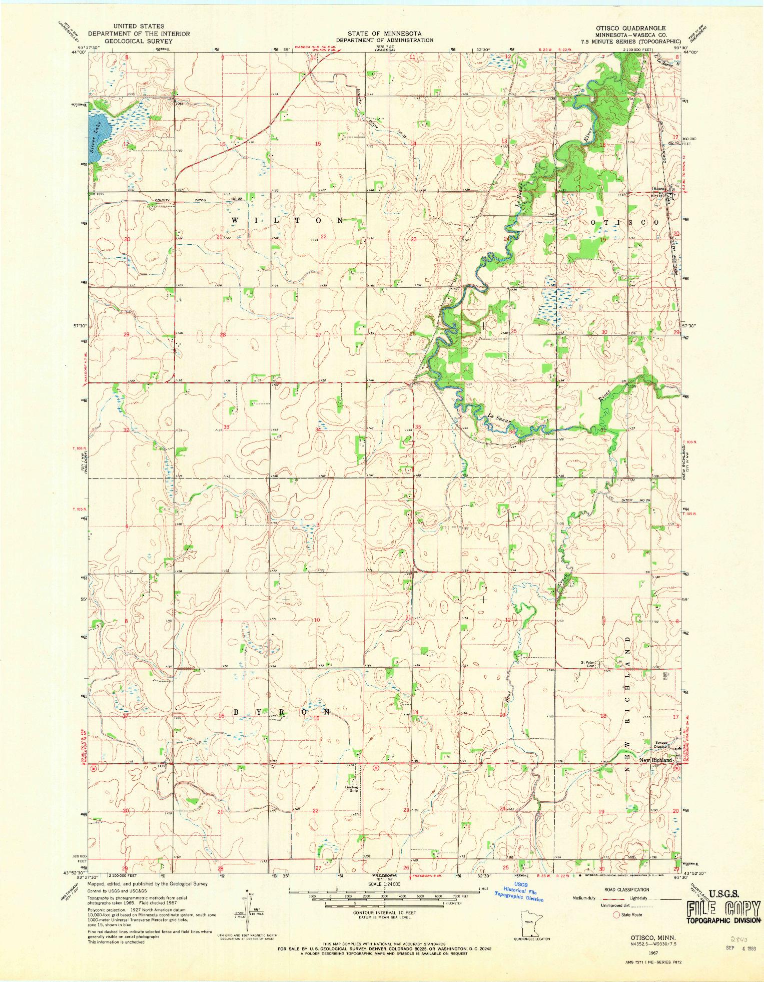 USGS 1:24000-SCALE QUADRANGLE FOR OTISCO, MN 1967