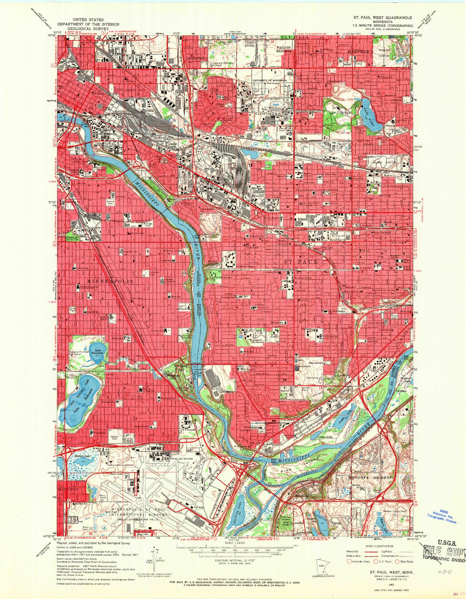 USGS 1:24000-SCALE QUADRANGLE FOR ST. PAUL WEST, MN 1967