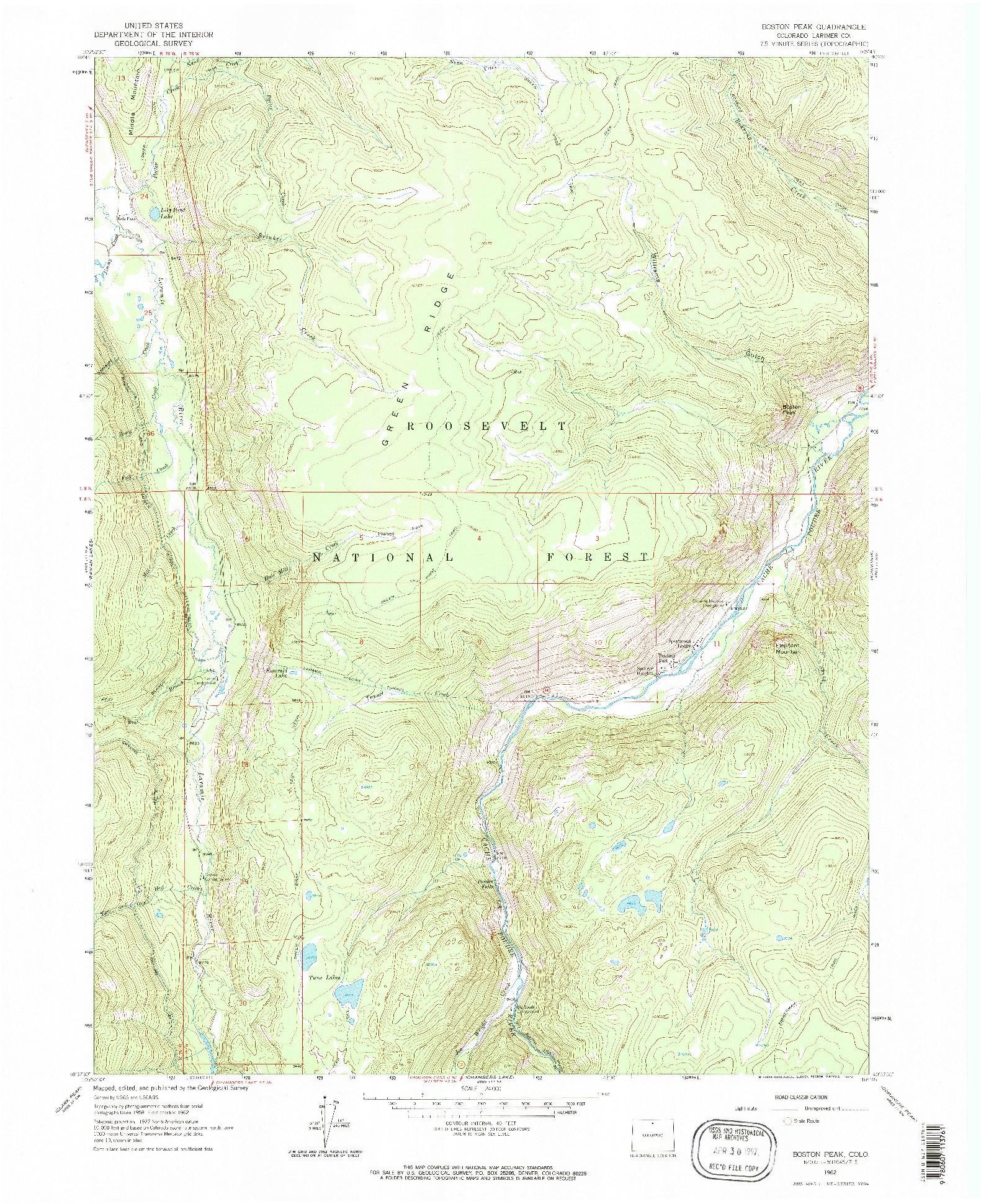 USGS 1:24000-SCALE QUADRANGLE FOR BOSTON PEAK, CO 1962