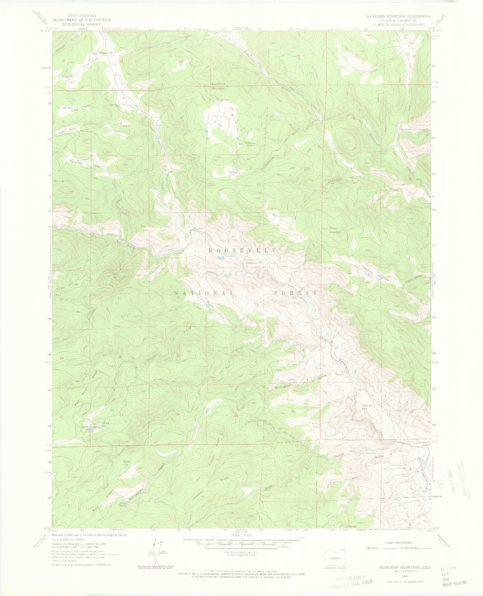 USGS 1:24000-SCALE QUADRANGLE FOR BUCKHORN MOUNTAIN, CO 1962