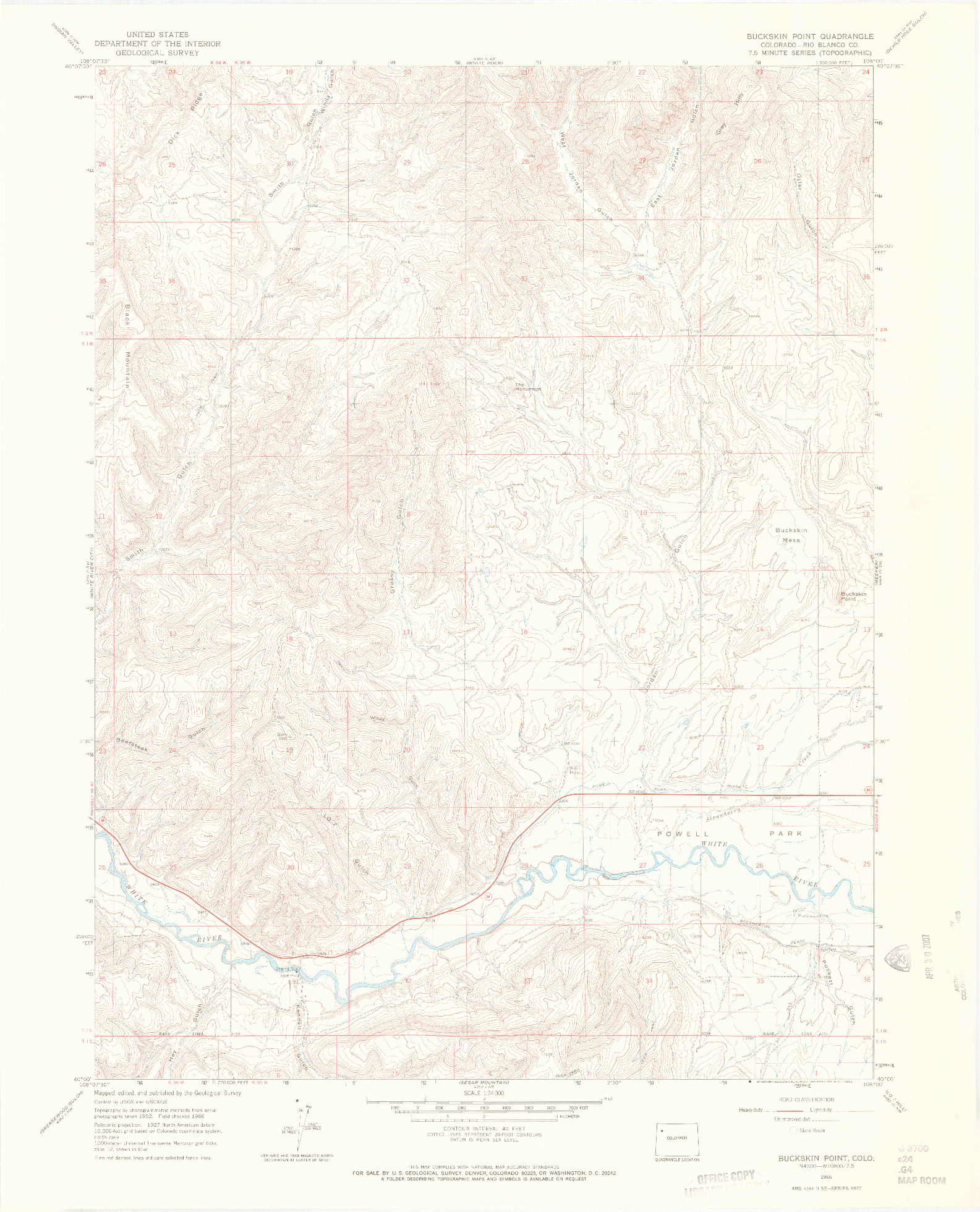 USGS 1:24000-SCALE QUADRANGLE FOR BUCKSKIN POINT, CO 1966