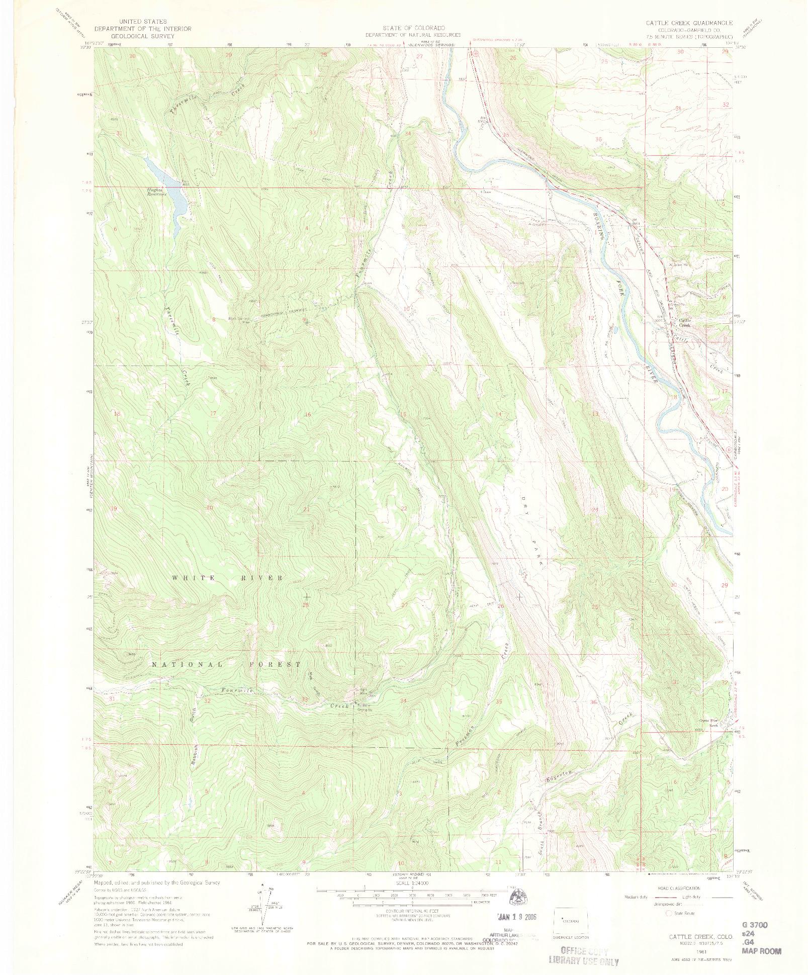 USGS 1:24000-SCALE QUADRANGLE FOR CATTLE CREEK, CO 1961