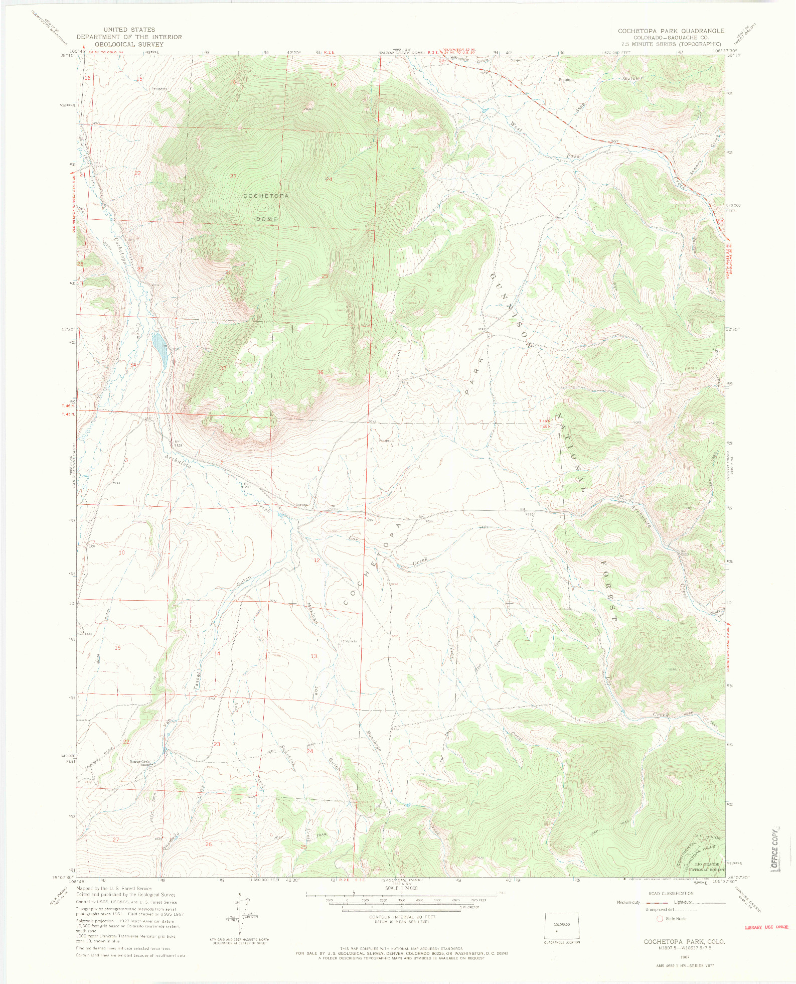 USGS 1:24000-SCALE QUADRANGLE FOR COCHETOPA PARK, CO 1967