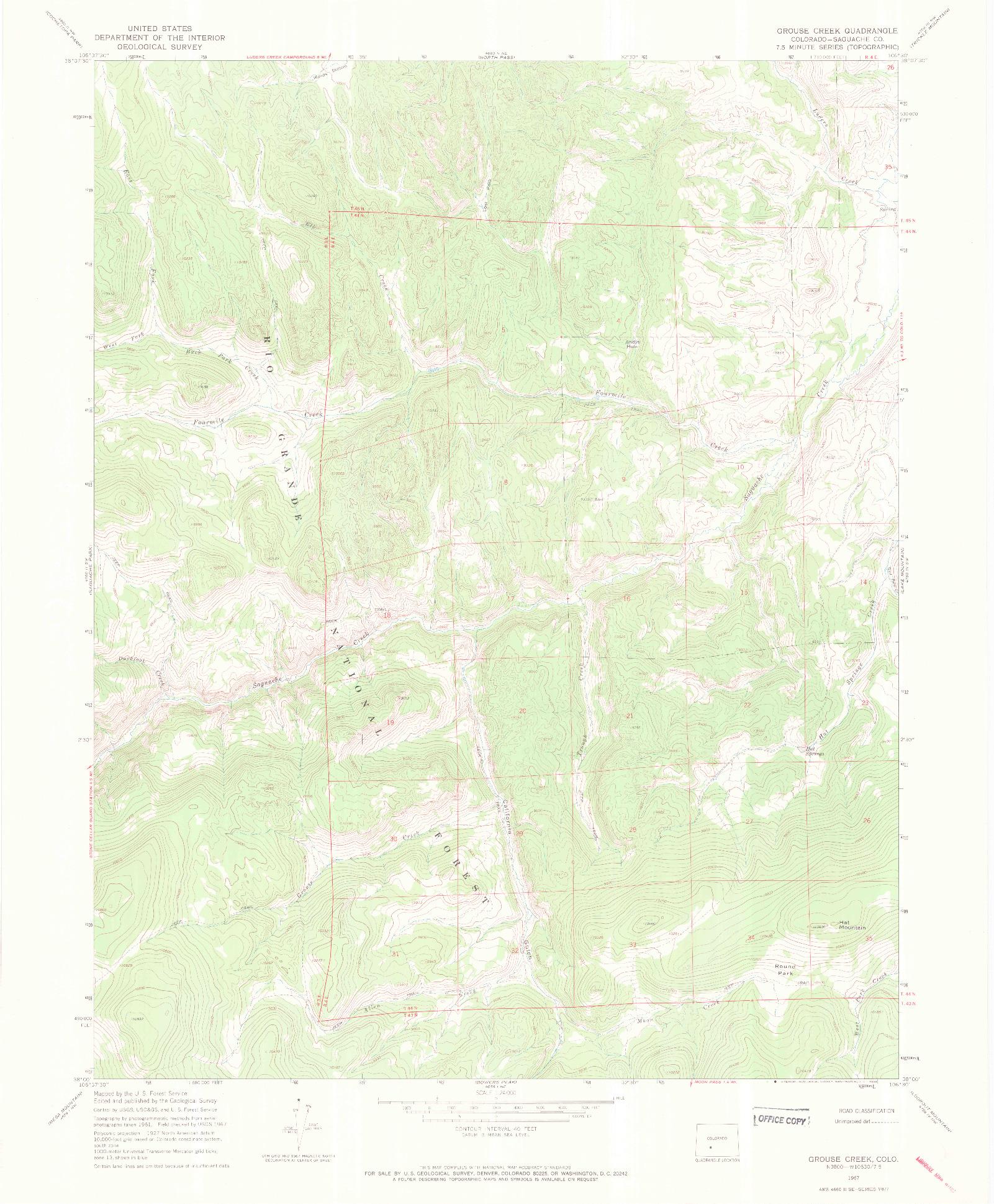 USGS 1:24000-SCALE QUADRANGLE FOR GROUSE CREEK, CO 1967