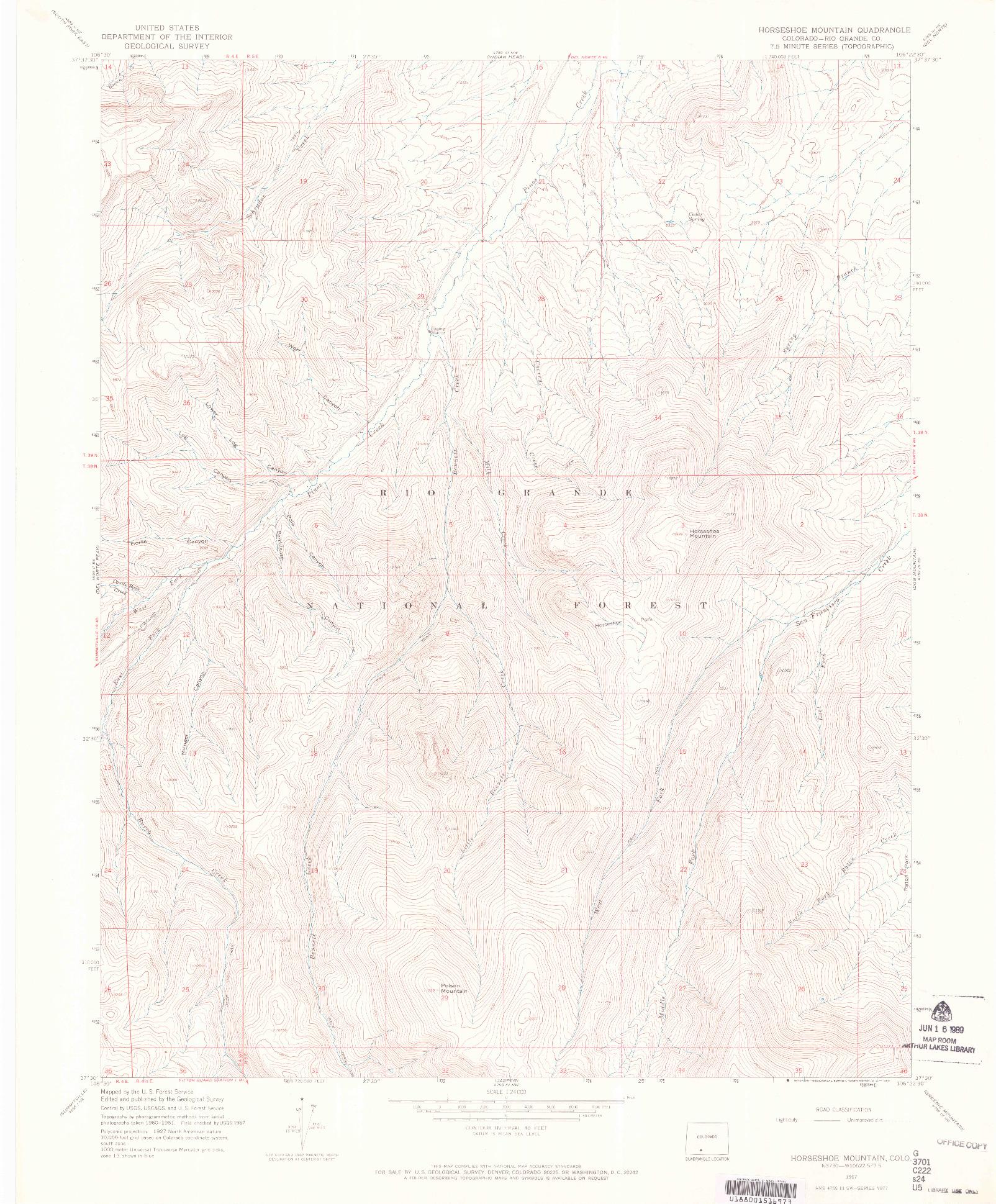 USGS 1:24000-SCALE QUADRANGLE FOR HORSESHOE MOUNTAIN, CO 1967