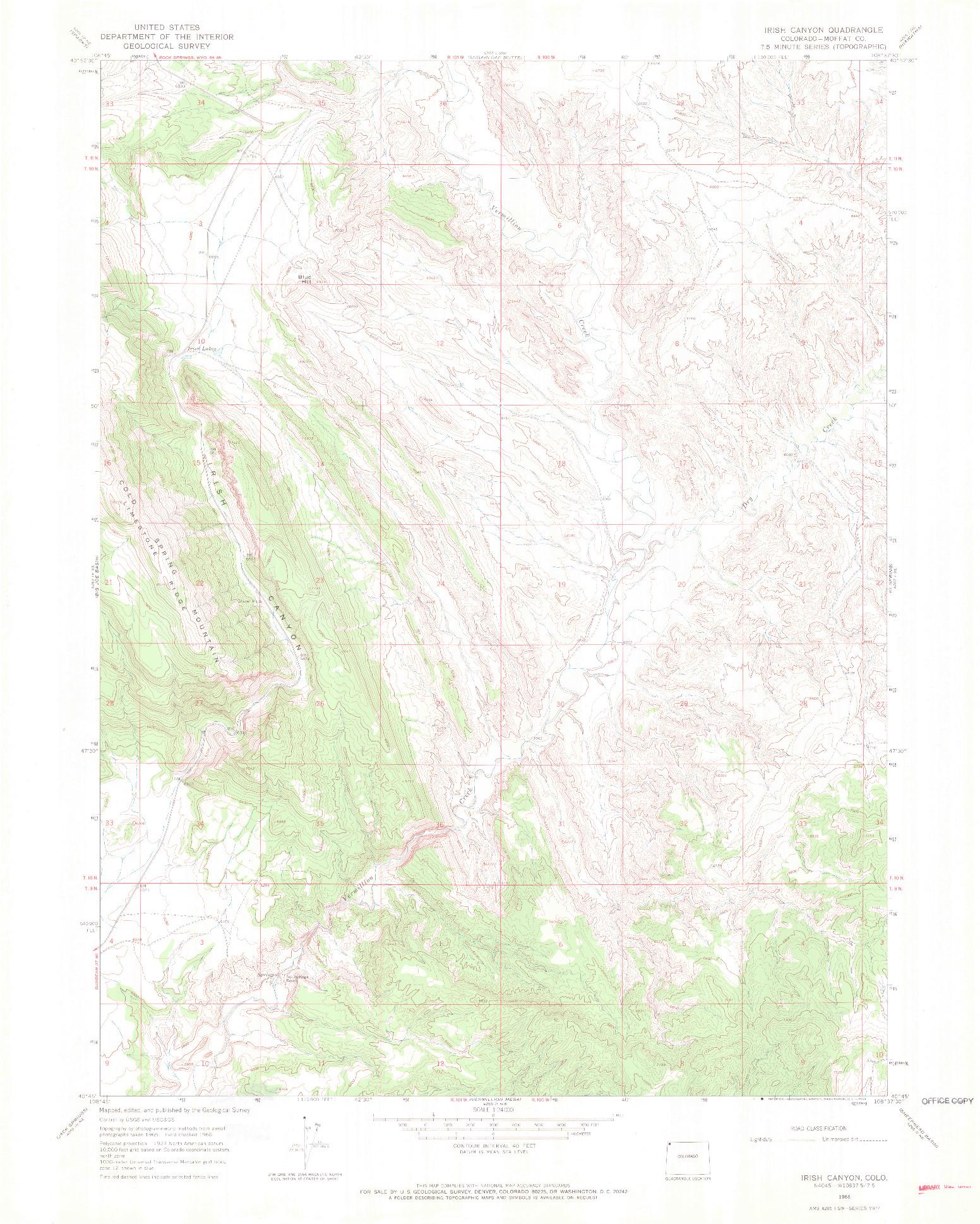 USGS 1:24000-SCALE QUADRANGLE FOR IRISH CANYON, CO 1966
