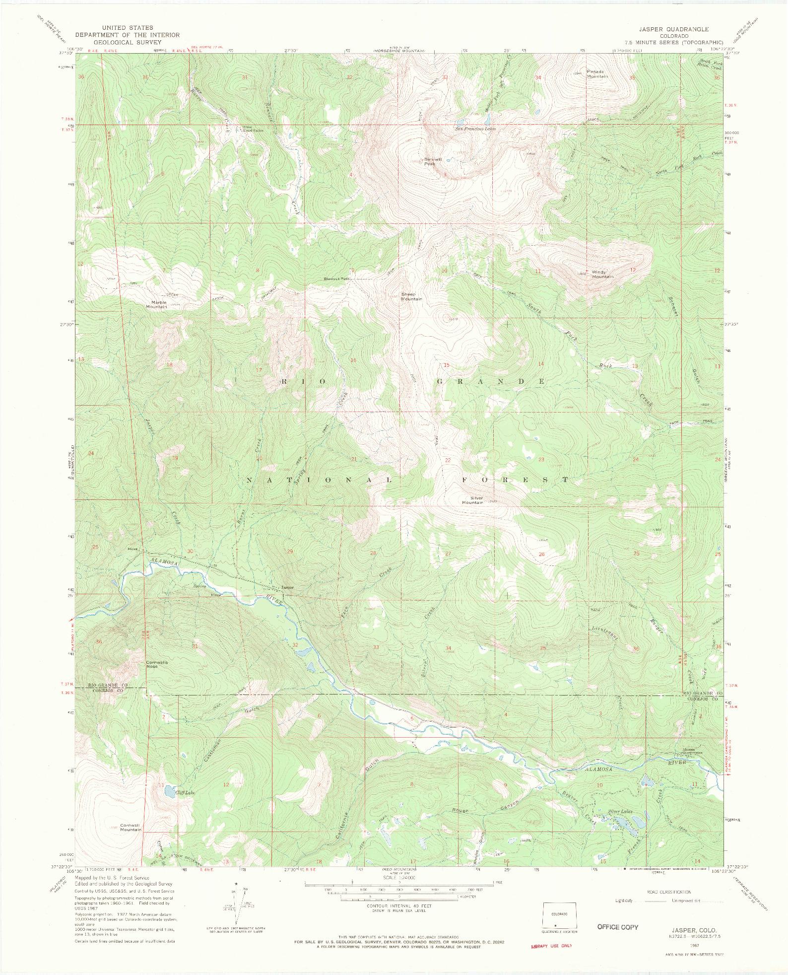 USGS 1:24000-SCALE QUADRANGLE FOR JASPER, CO 1967
