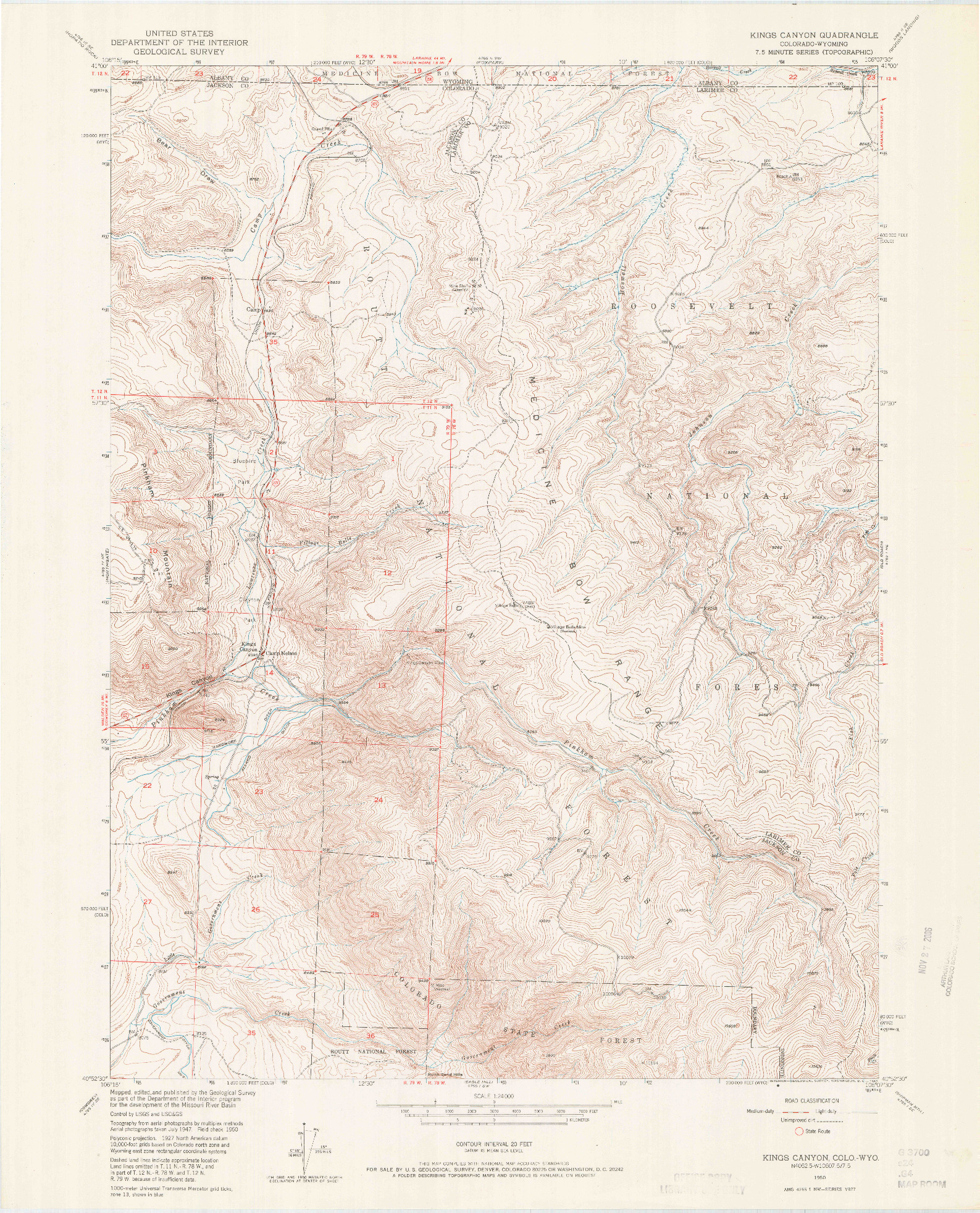 USGS 1:24000-SCALE QUADRANGLE FOR KINGS CANYON, CO 1950