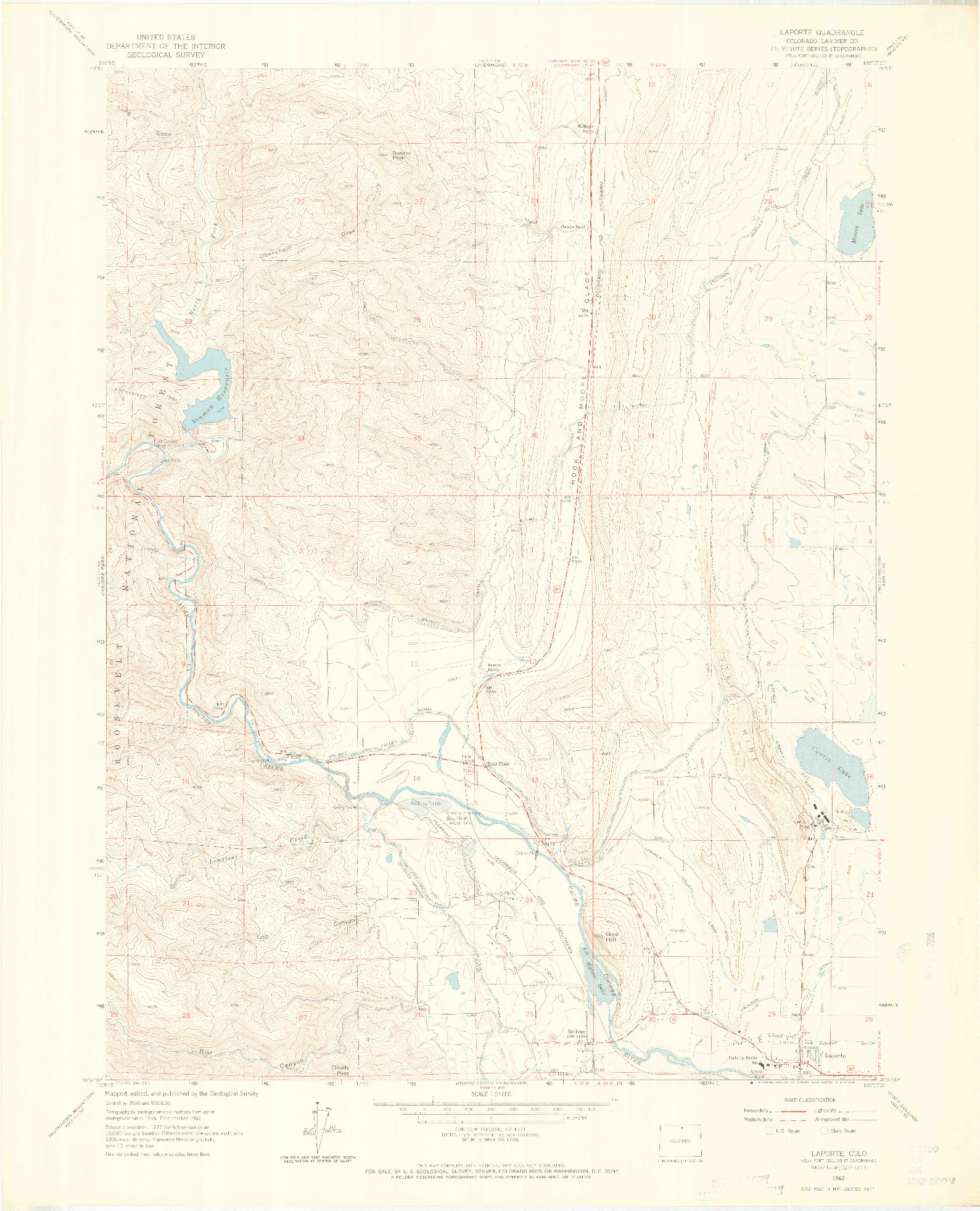 USGS 1:24000-SCALE QUADRANGLE FOR LAPORTE, CO 1962