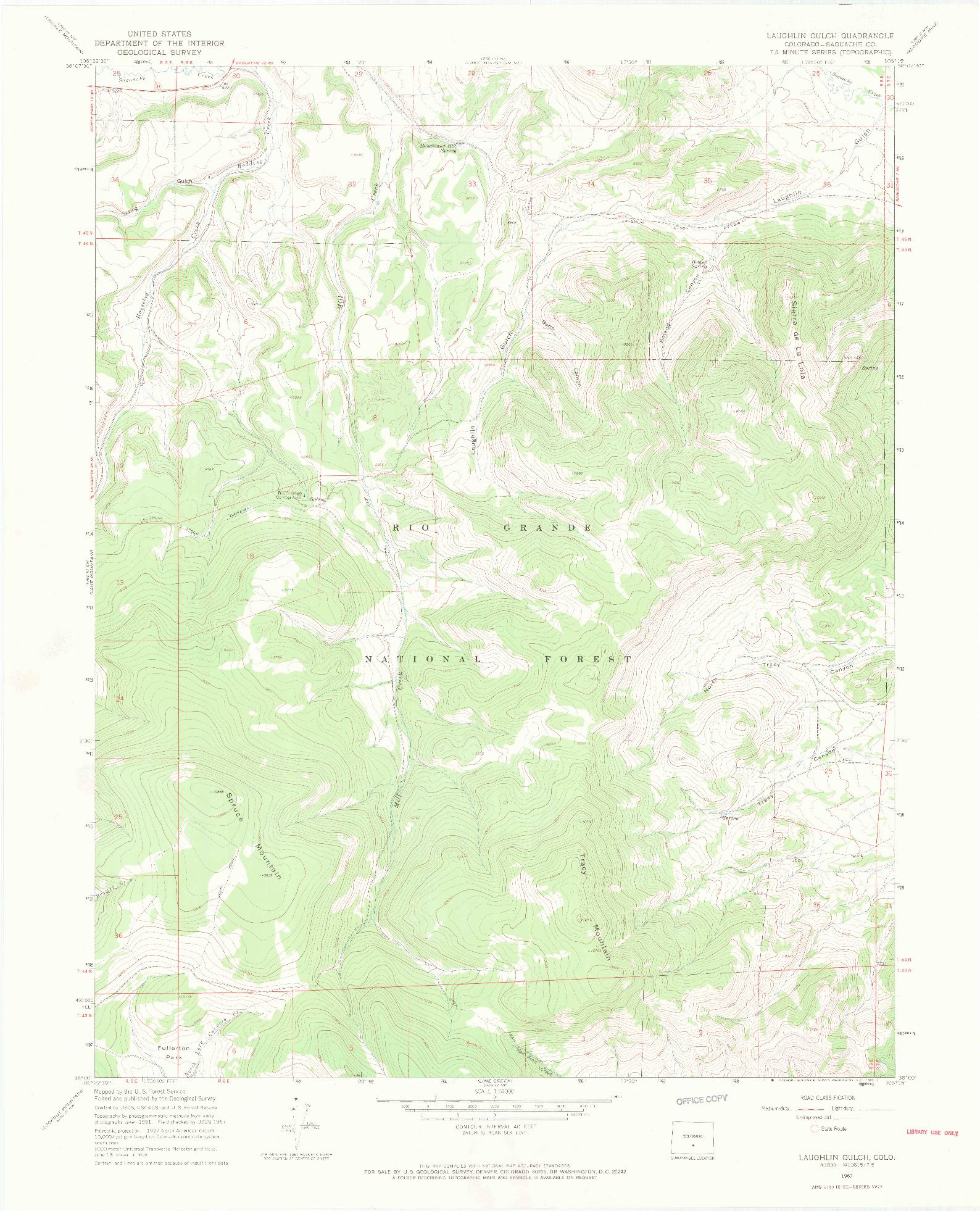 USGS 1:24000-SCALE QUADRANGLE FOR LAUGHLIN GULCH, CO 1967