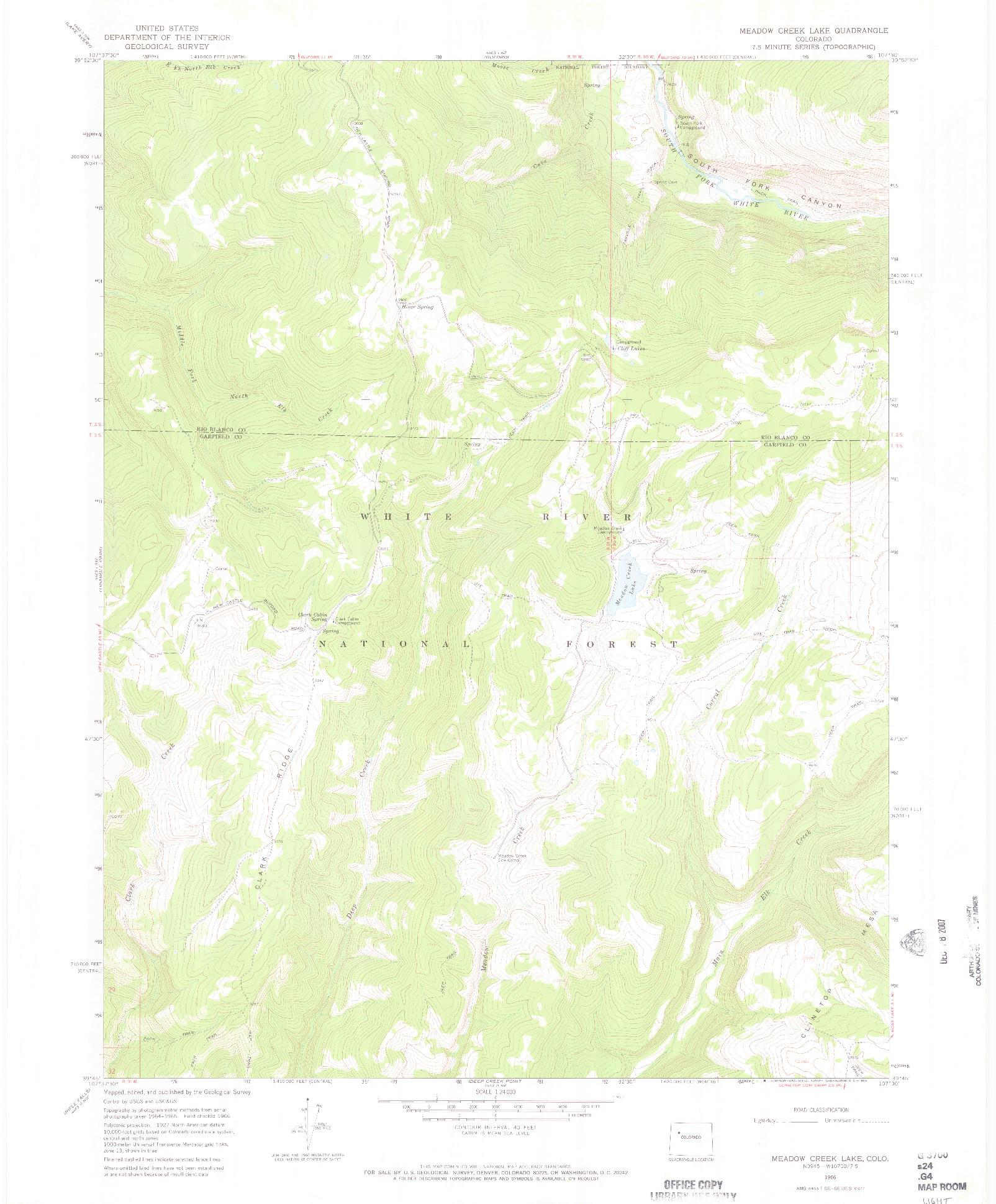 USGS 1:24000-SCALE QUADRANGLE FOR MEADOW CREEK LAKE, CO 1966