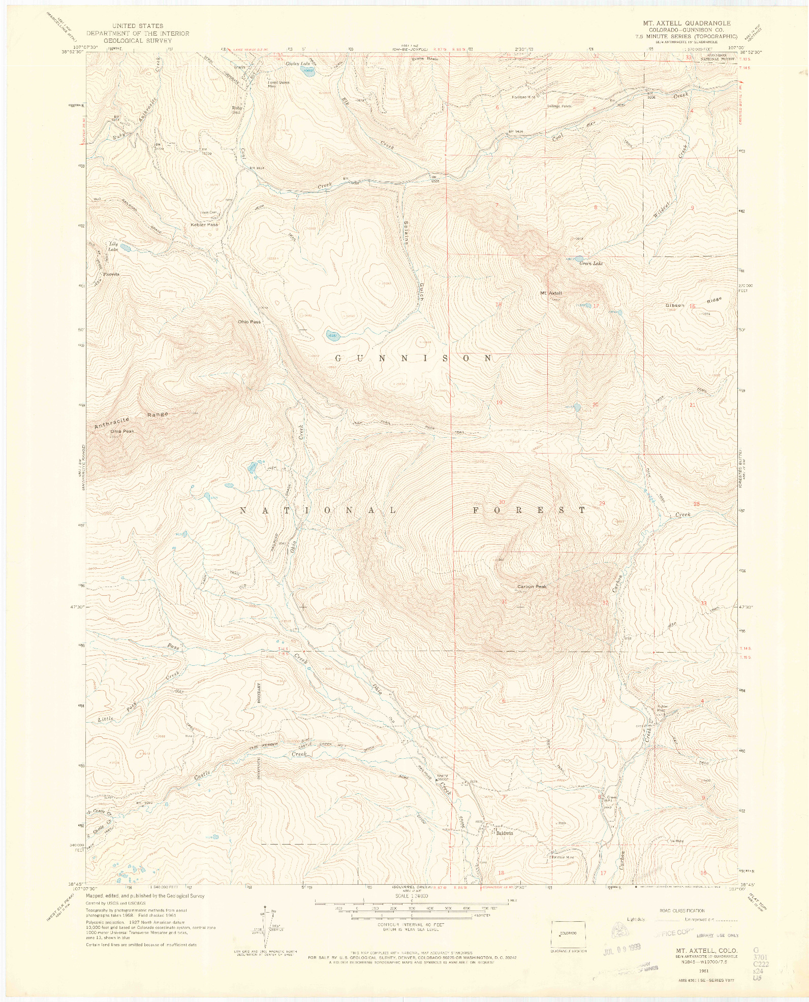 USGS 1:24000-SCALE QUADRANGLE FOR MOUNT AXTELL, CO 1961