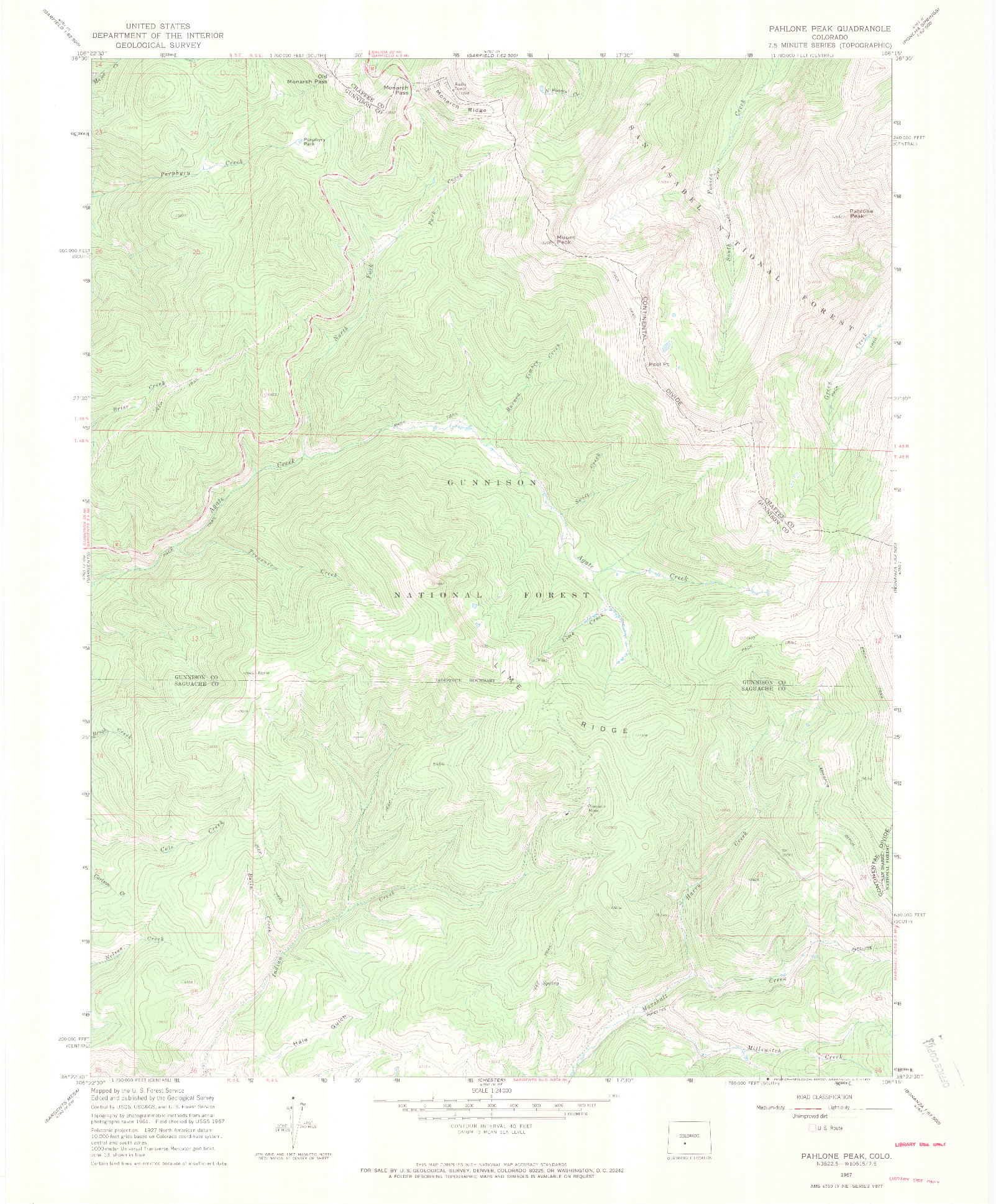 USGS 1:24000-SCALE QUADRANGLE FOR PAHLONE PEAK, CO 1967