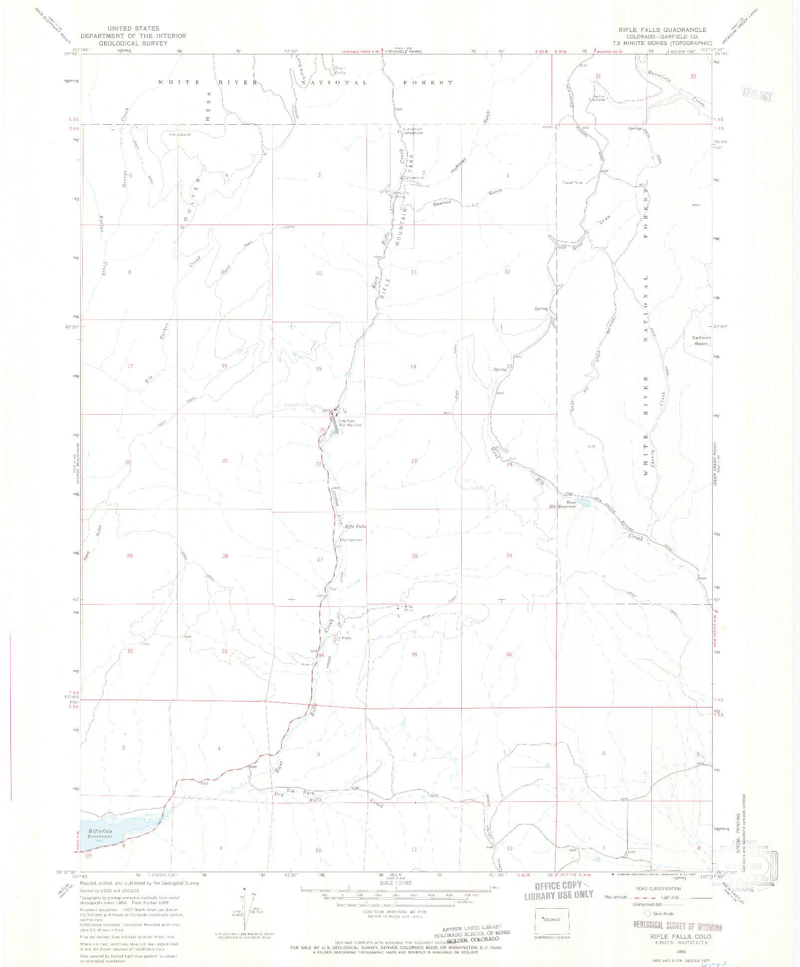 USGS 1:24000-SCALE QUADRANGLE FOR RIFLE FALLS, CO 1966