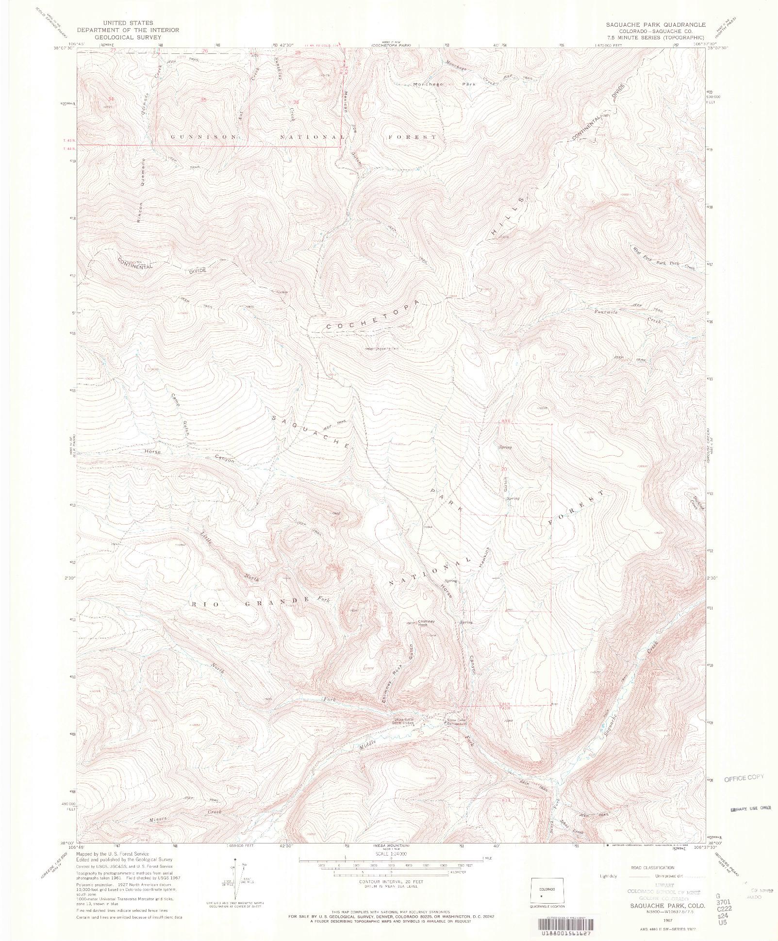 USGS 1:24000-SCALE QUADRANGLE FOR SAGUACHE PARK, CO 1967