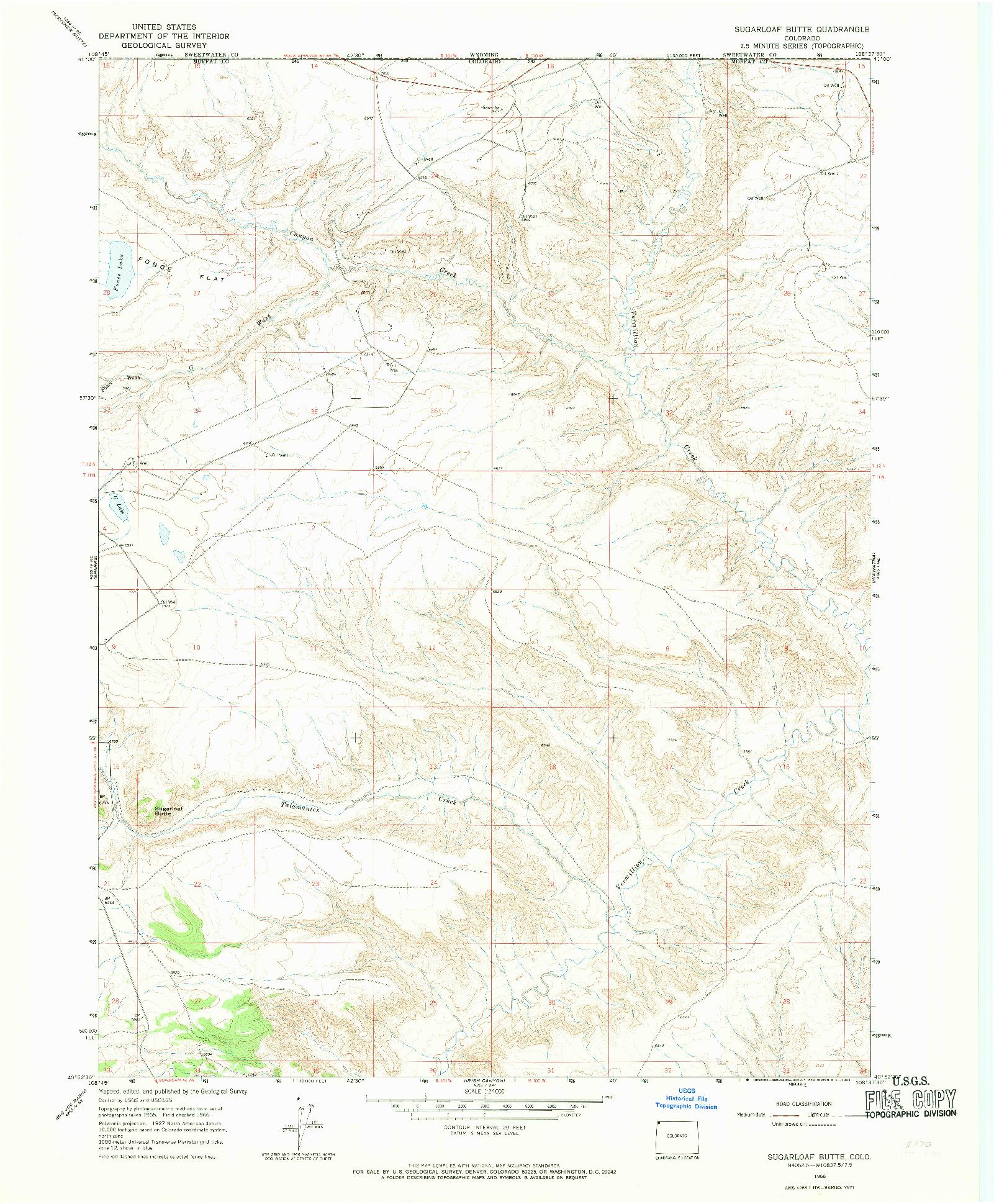 USGS 1:24000-SCALE QUADRANGLE FOR SUGARLOAF BUTTE, CO 1966