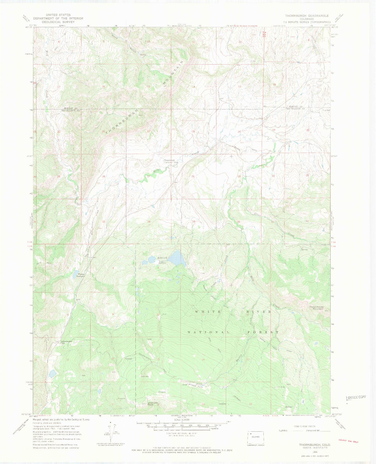 USGS 1:24000-SCALE QUADRANGLE FOR THORNBURGH, CO 1966
