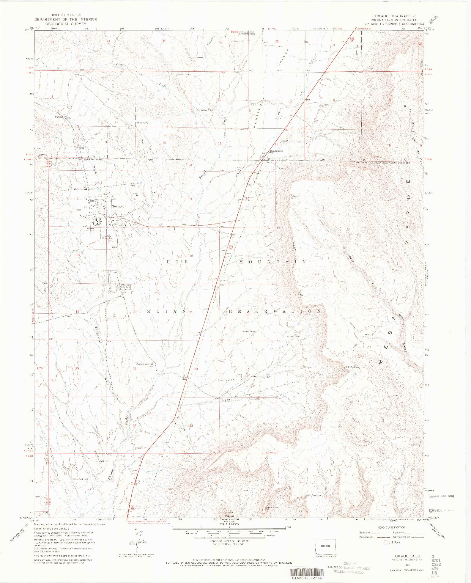 USGS 1:24000-SCALE QUADRANGLE FOR TOWAOC, CO 1966
