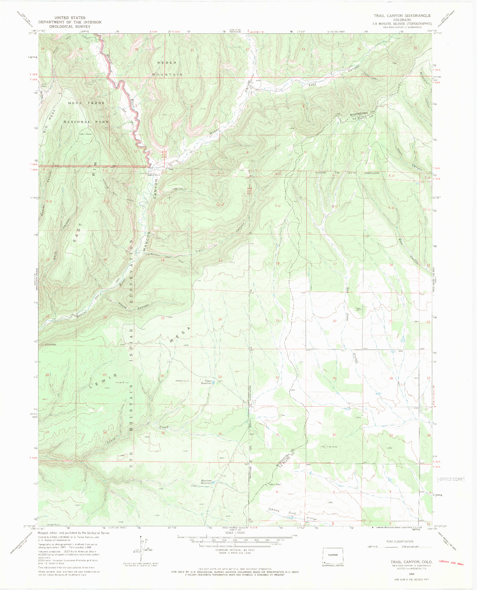 USGS 1:24000-SCALE QUADRANGLE FOR TRAIL CANYON, CO 1966
