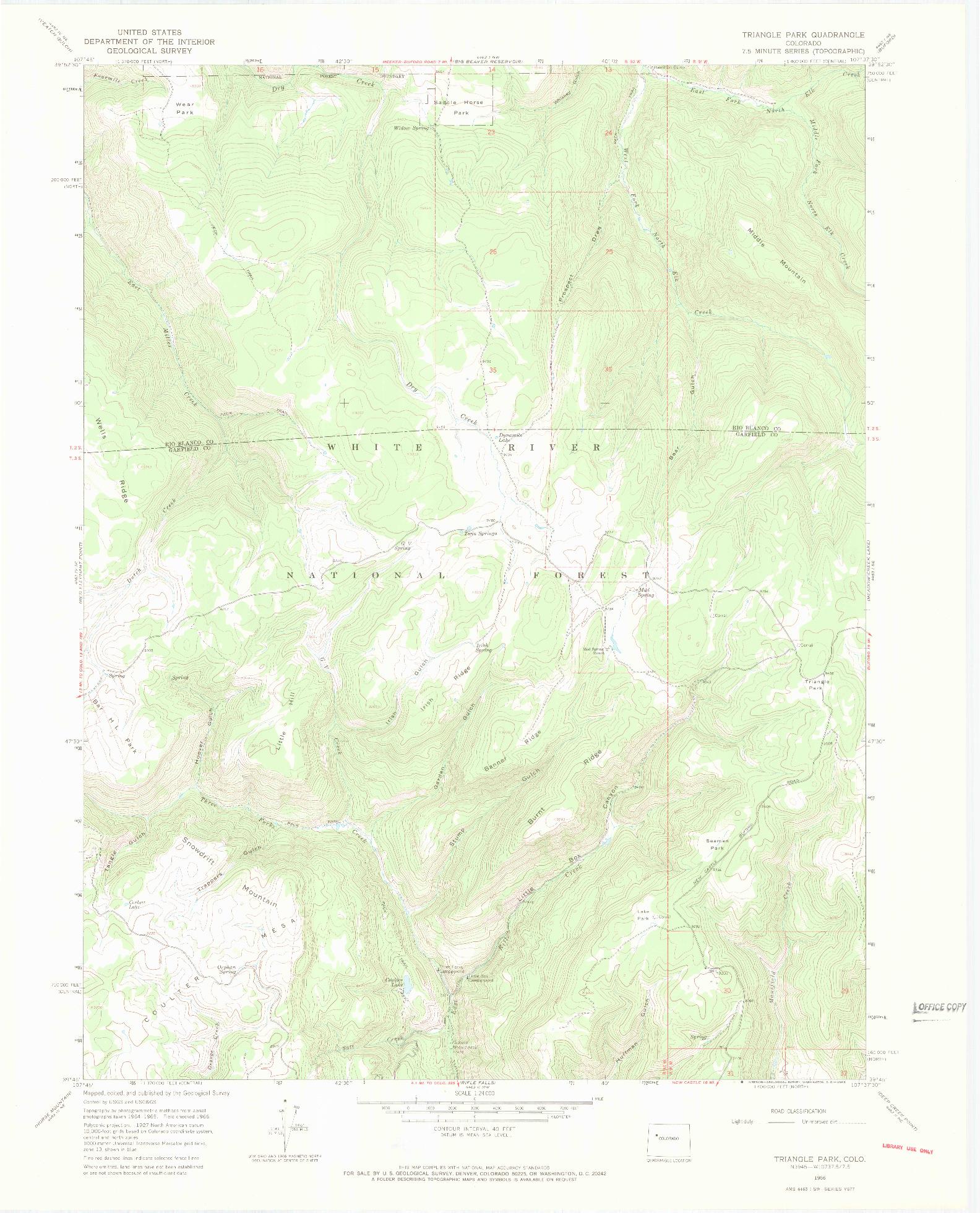 USGS 1:24000-SCALE QUADRANGLE FOR TRIANGLE PARK, CO 1966