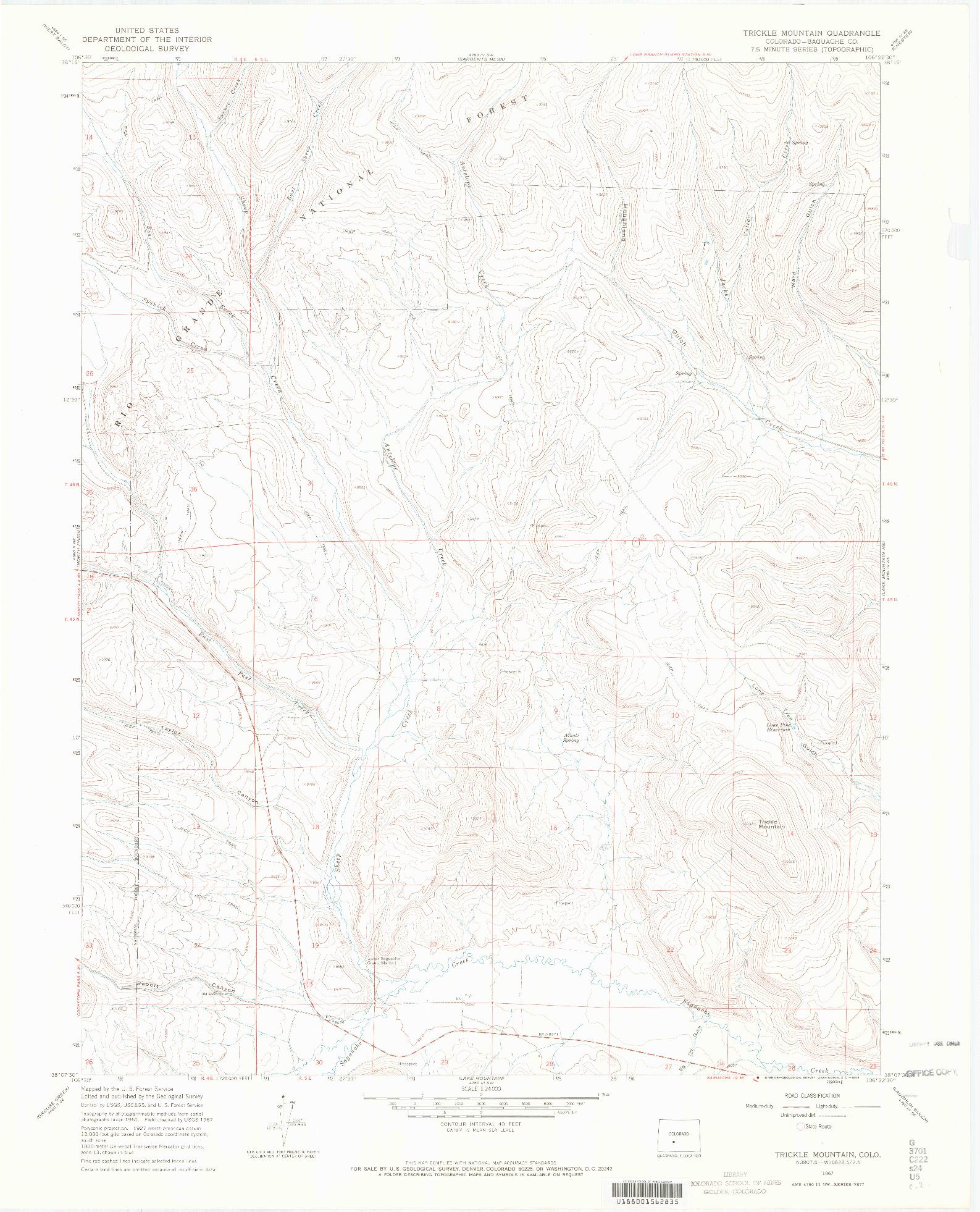 USGS 1:24000-SCALE QUADRANGLE FOR TRICKLE MOUNTAIN, CO 1967