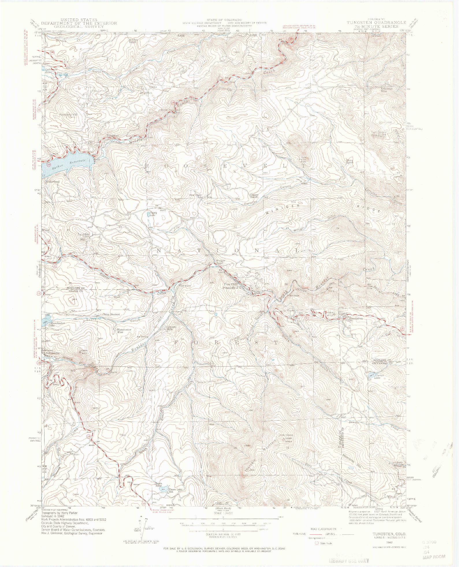 USGS 1:24000-SCALE QUADRANGLE FOR TUNGSTEN, CO 1942