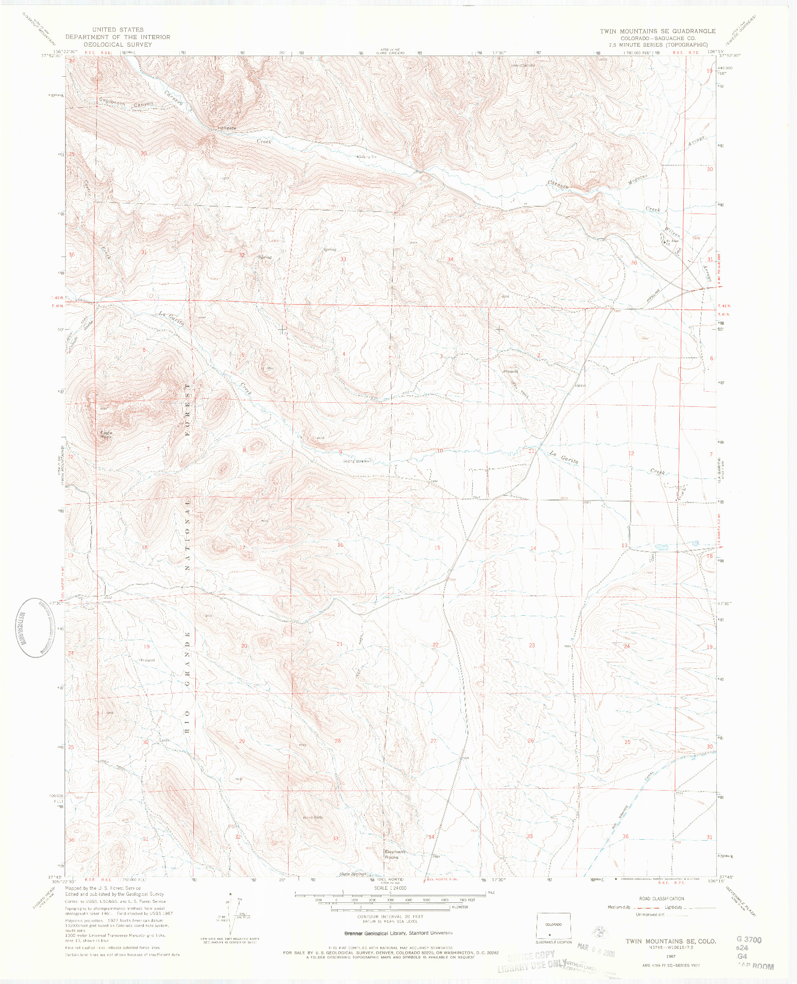 USGS 1:24000-SCALE QUADRANGLE FOR TWIN MOUNTAINS SE, CO 1967