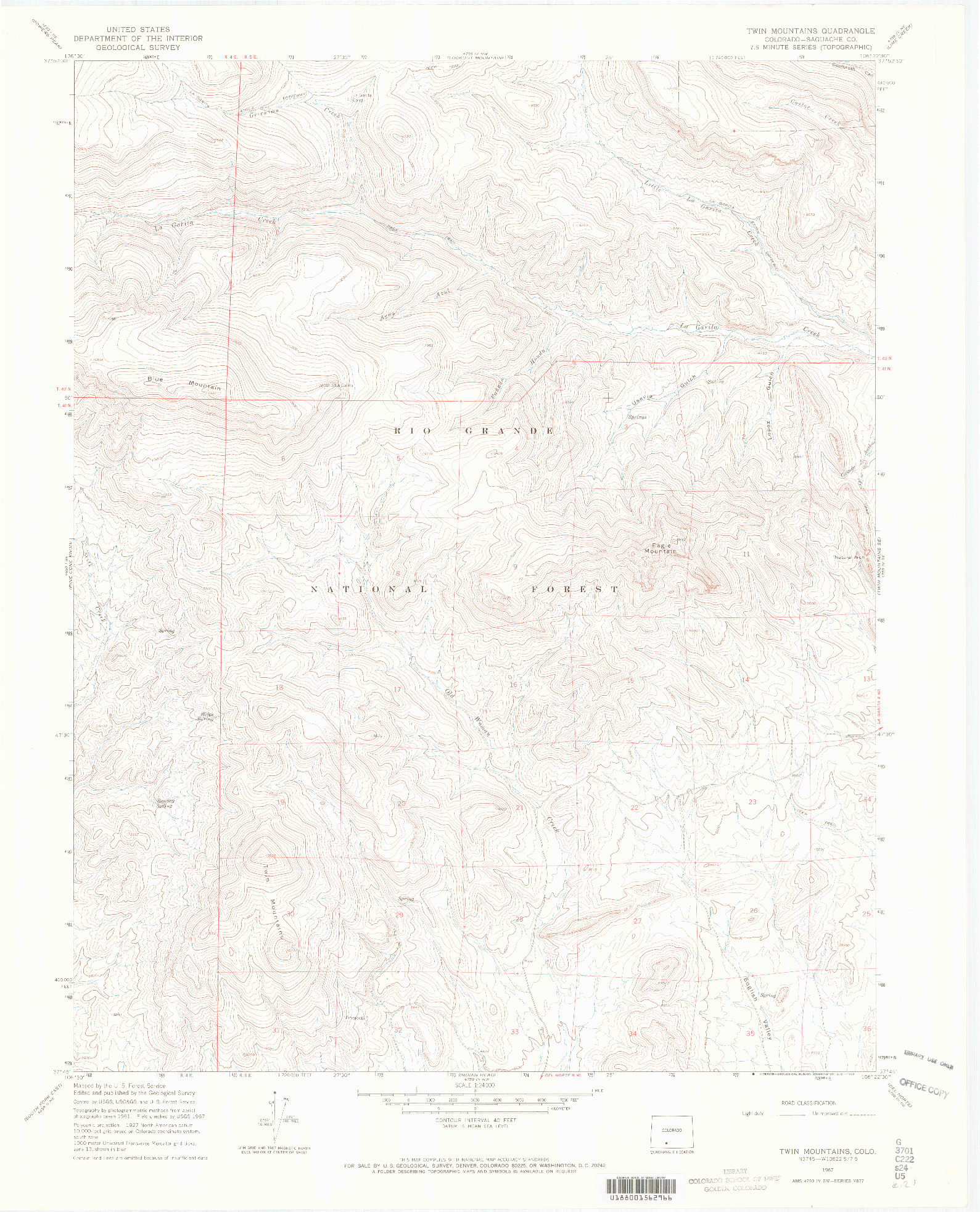 USGS 1:24000-SCALE QUADRANGLE FOR TWIN MOUNTAINS, CO 1967