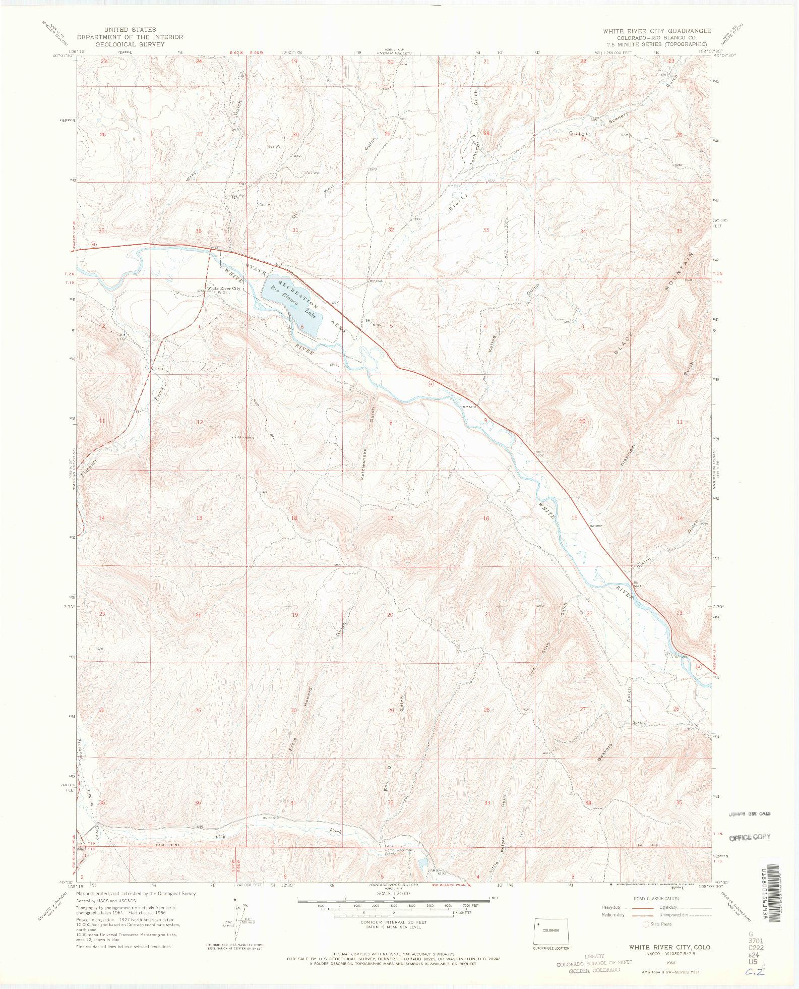 USGS 1:24000-SCALE QUADRANGLE FOR WHITE RIVER CITY, CO 1966