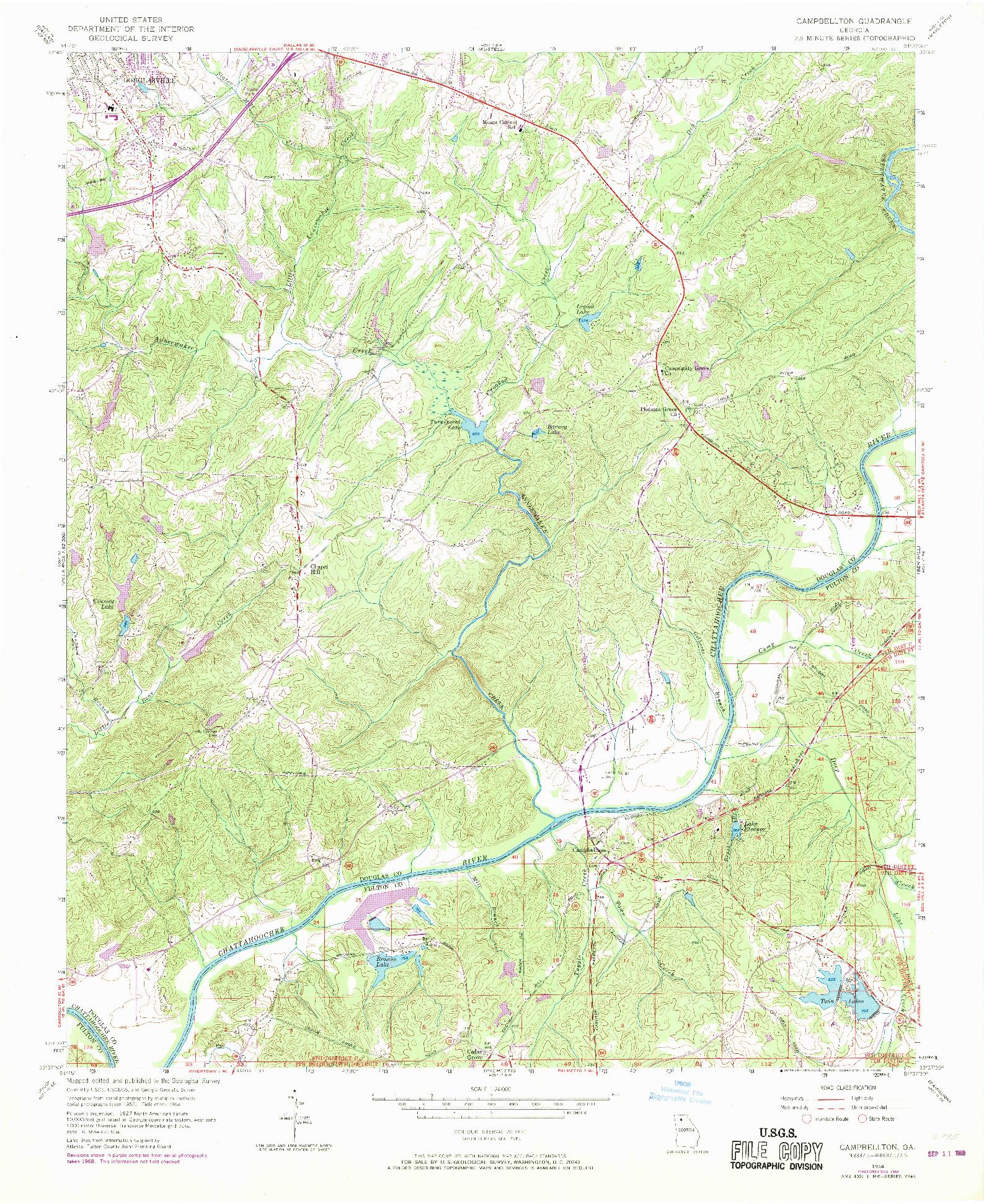 USGS 1:24000-SCALE QUADRANGLE FOR CAMPBELLTON, GA 1954