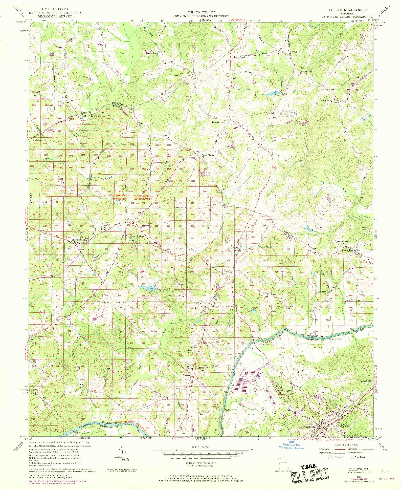 USGS 1:24000-SCALE QUADRANGLE FOR DULUTH, GA 1956