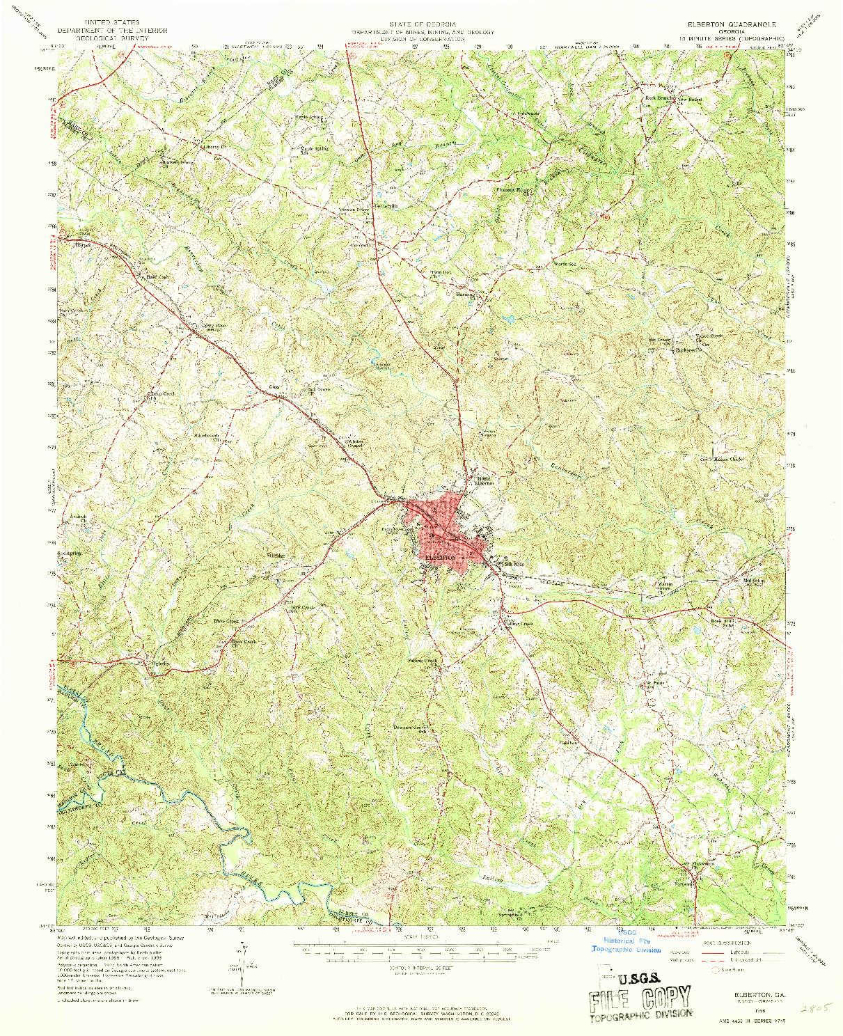 USGS 1:62500-SCALE QUADRANGLE FOR ELBERTON, GA 1958