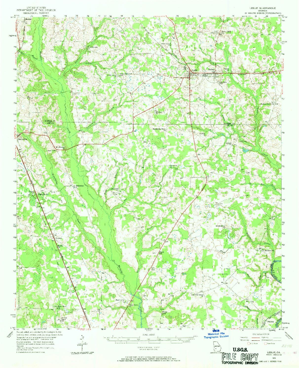 USGS 1:62500-SCALE QUADRANGLE FOR LESLIE, GA 1956