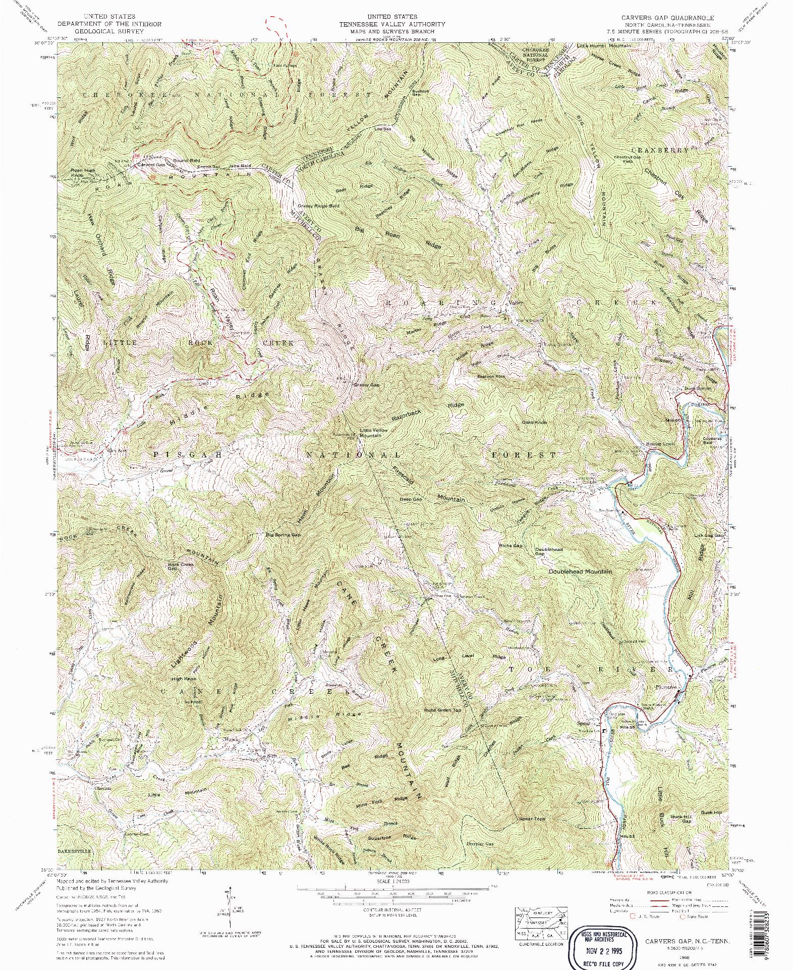 USGS 1:24000-SCALE QUADRANGLE FOR CARVERS GAP, NC 1960