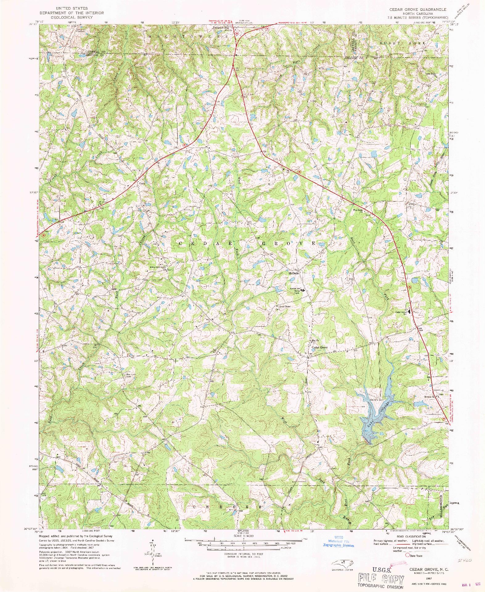 USGS 1:24000-SCALE QUADRANGLE FOR CEDAR GROVE, NC 1967
