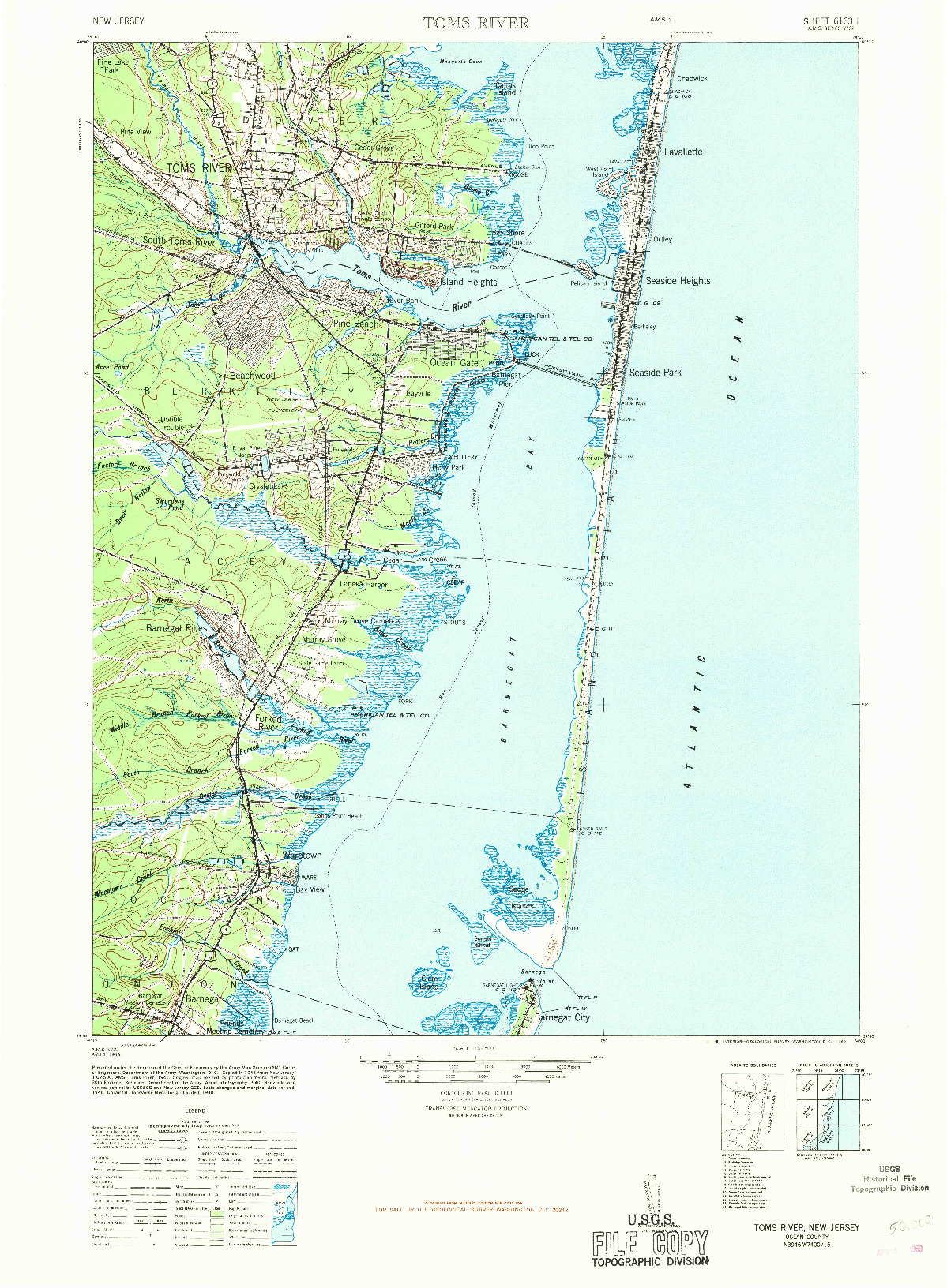 USGS 1:62500-SCALE QUADRANGLE FOR TOMS RIVER, NJ 1948