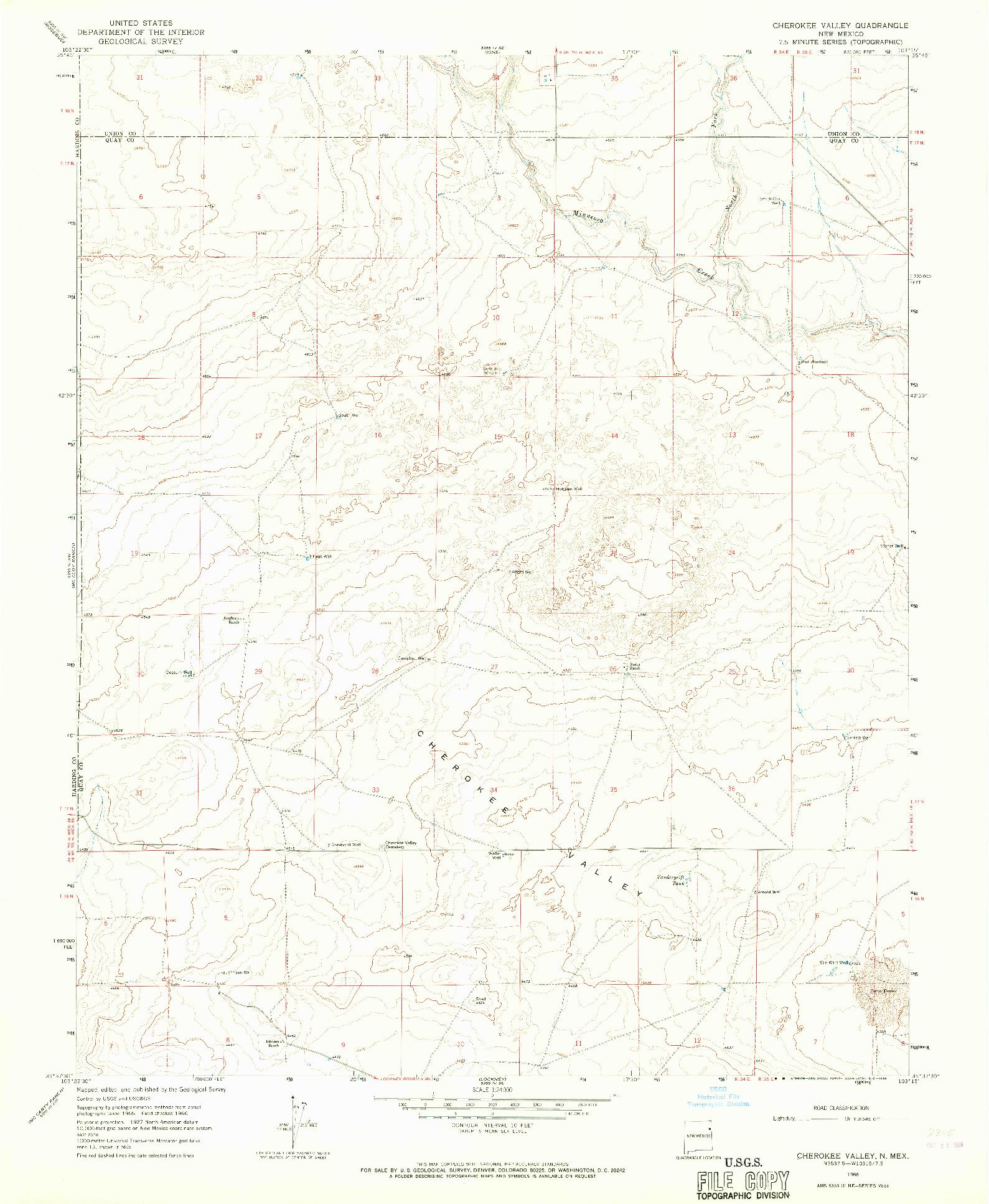 USGS 1:24000-SCALE QUADRANGLE FOR CHEROKEE VALLEY, NM 1966
