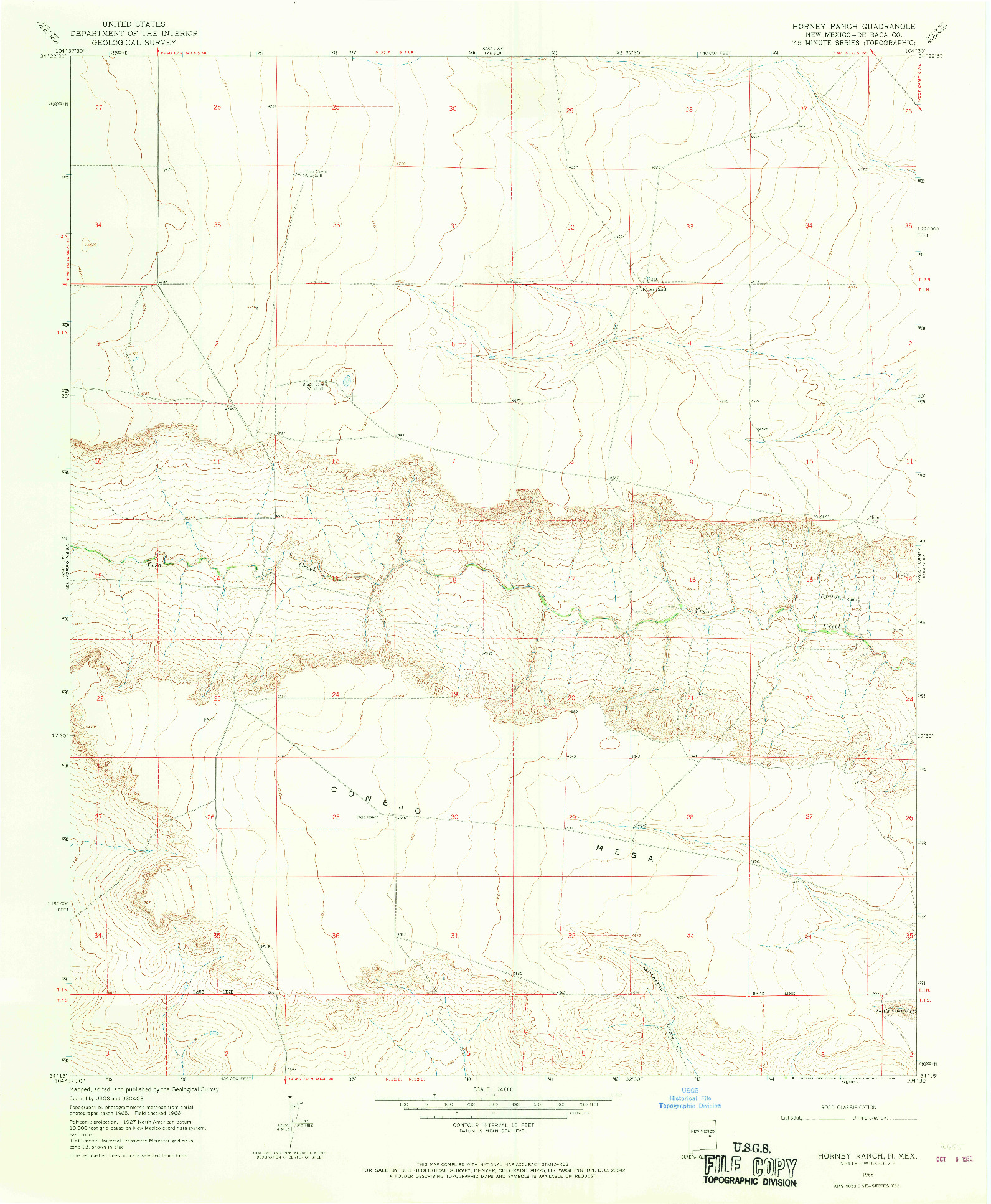 USGS 1:24000-SCALE QUADRANGLE FOR HORNEY RANCH, NM 1966