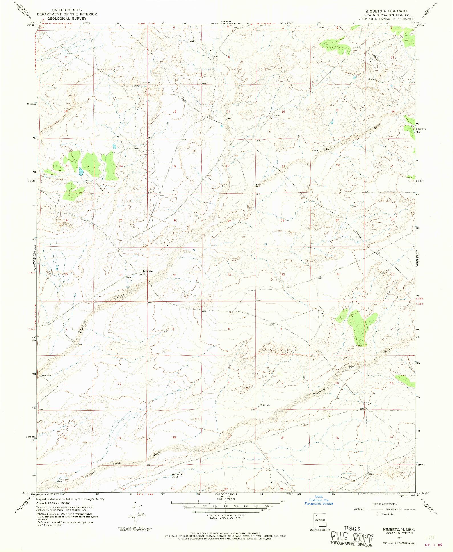 USGS 1:24000-SCALE QUADRANGLE FOR KIMBETO, NM 1967